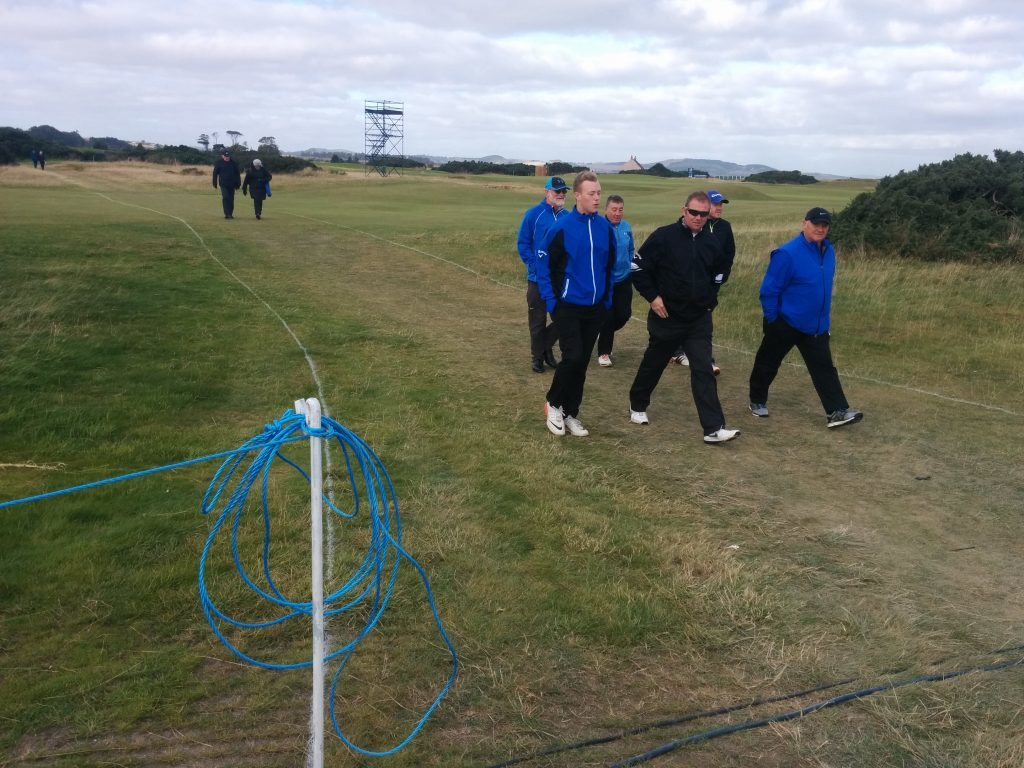 Dunhill spectators using the controlled crossing on the 4th and 15th fairways at the Old Course