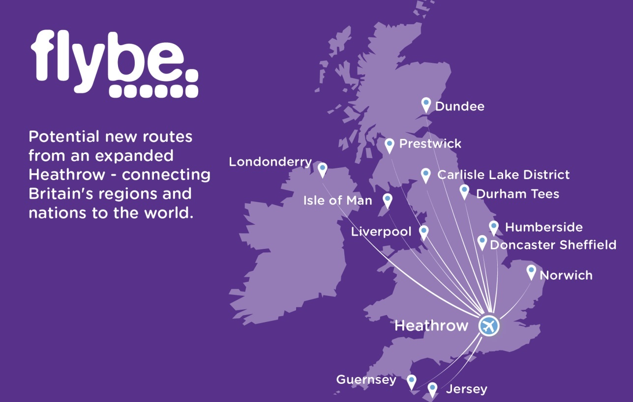 Flybe is considering 12 new routes from Heathrow if a third runway is built.