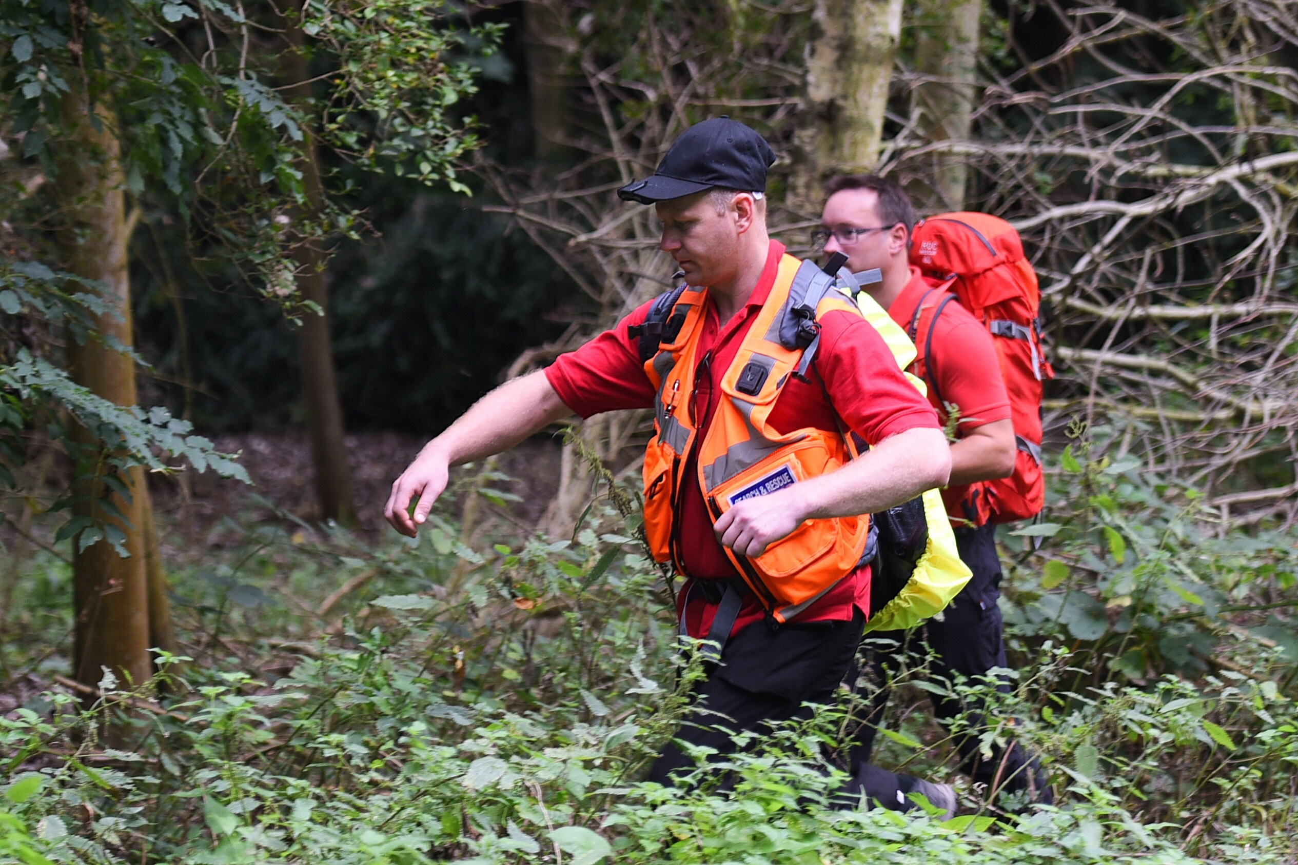 Teams of police, search and rescue and RAF personnel trying to find Corrie McKeague near Ampton village in Suffolk.