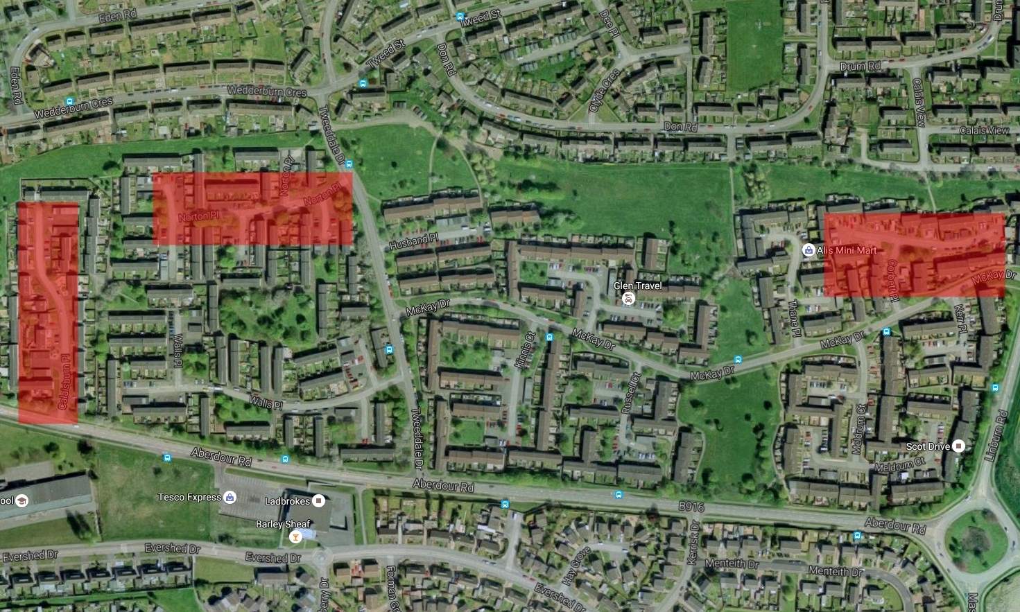 The incidents happened in  Calaisburn Place, Norton Place and Corbett Place (all highlighted in red).