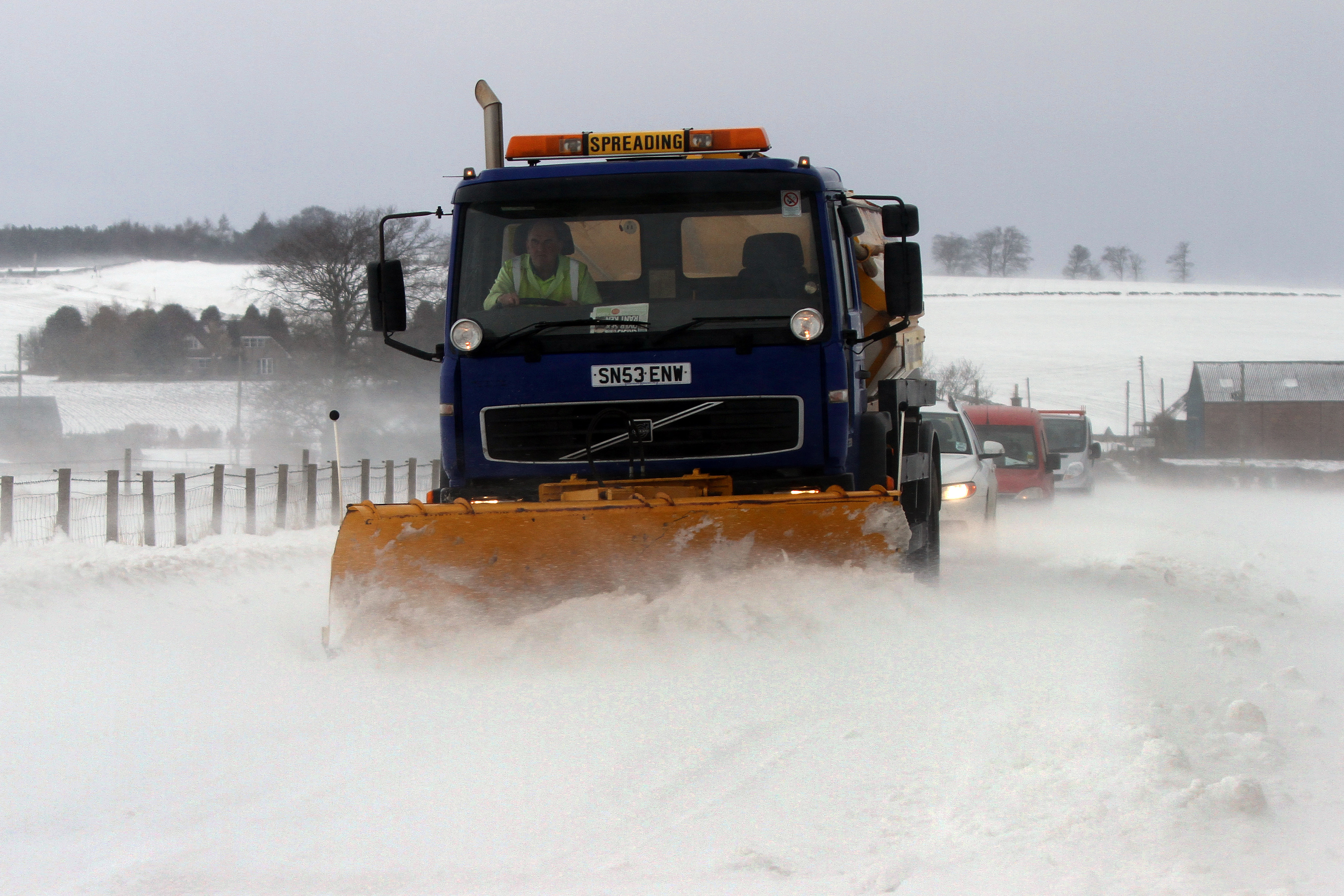 A snow plough trying trying to clear a path through snow north of Dundee in 2013.