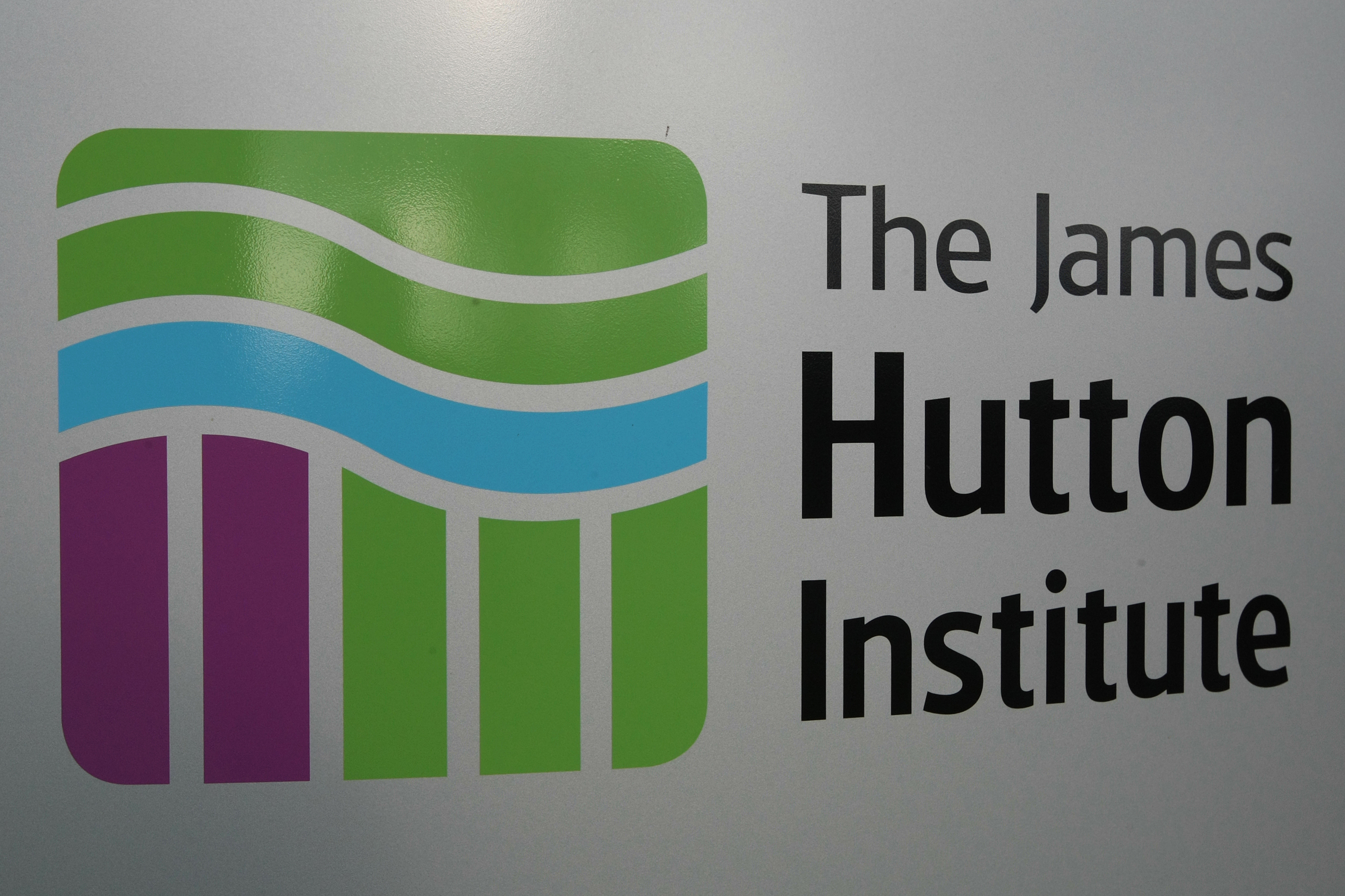 Building exterior of the James Hutton Institute, Invergowrie.   Sign for the James Hutton Institute