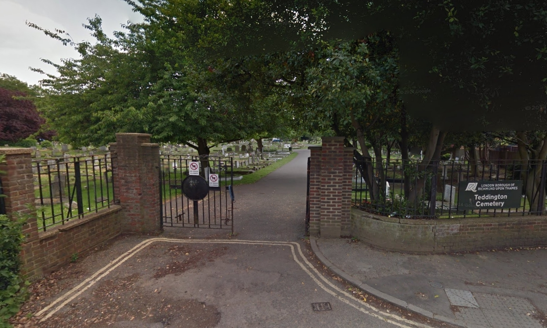An entrance to Teddington Cemetery.