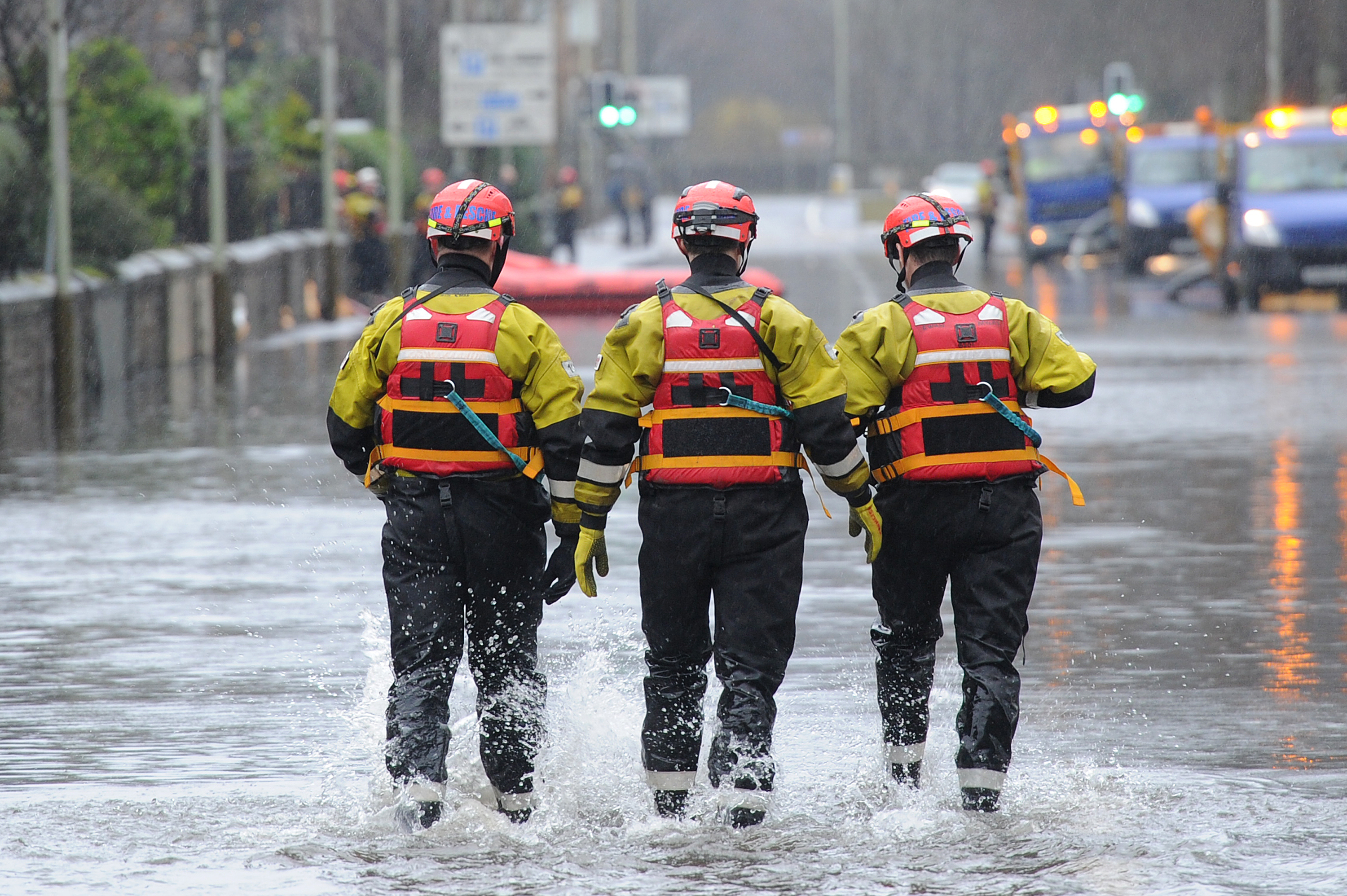 Firefighters dealing with flooding on Marshall Place in Perth earlier this year.