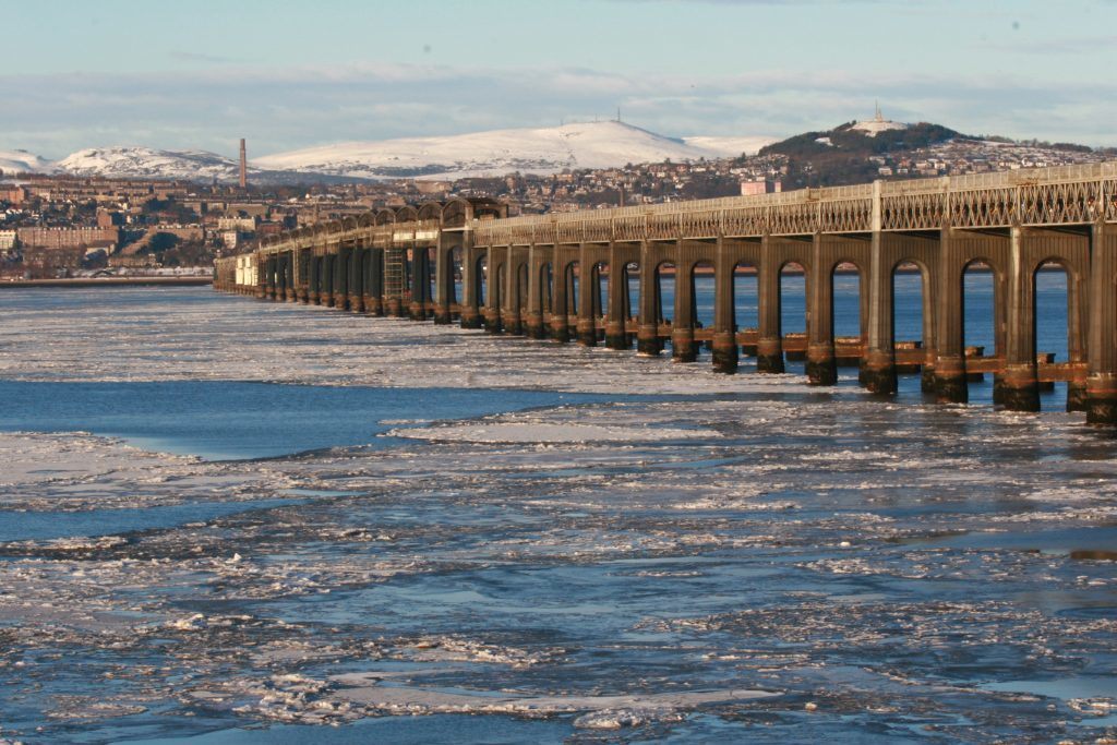 Jagged ice floes in the River Tay with Dundee in the background, 2010