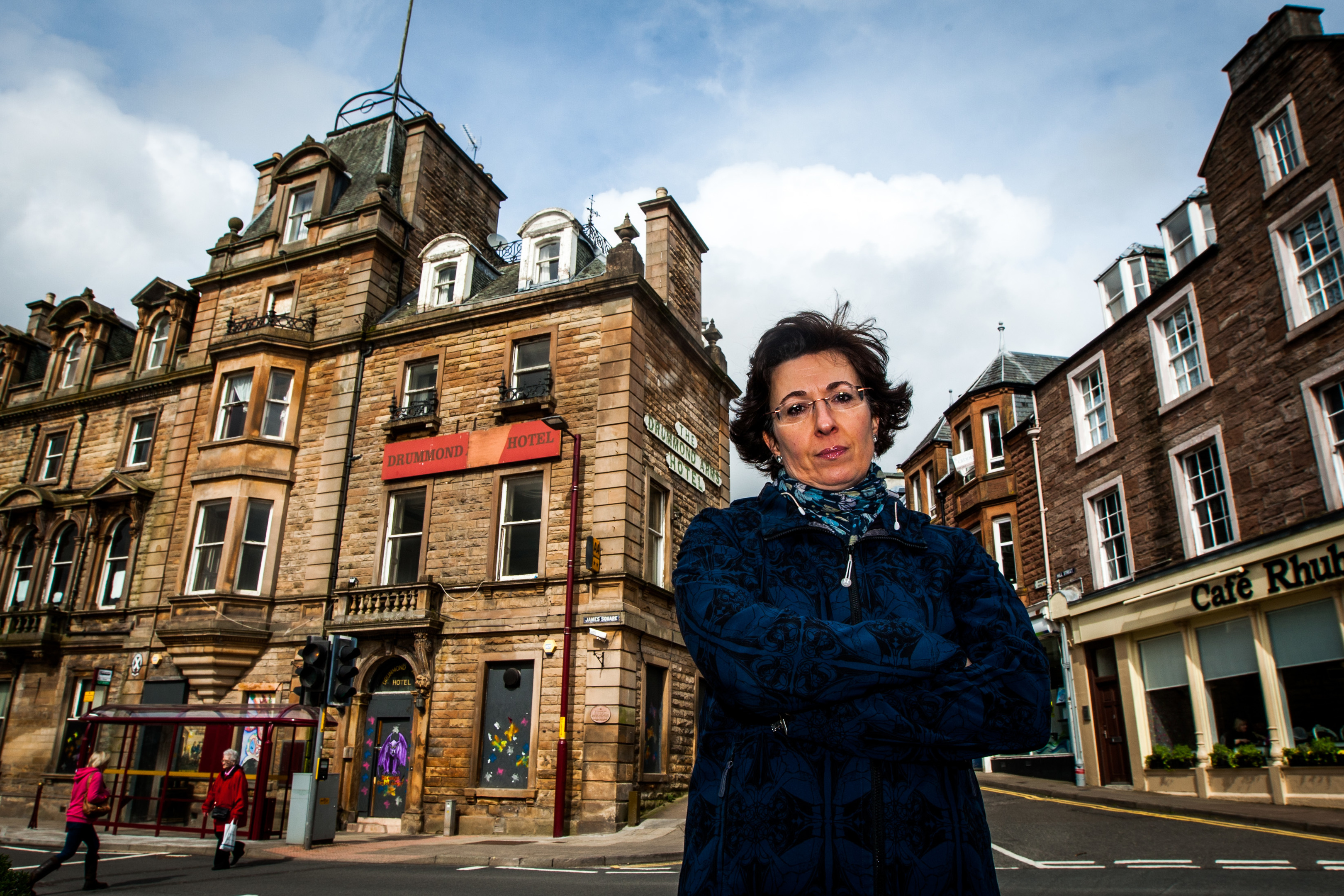 Ailsa Campbell , chair of Crieff Community Trust, pictured outside the  Drummond Arms in Crieff.