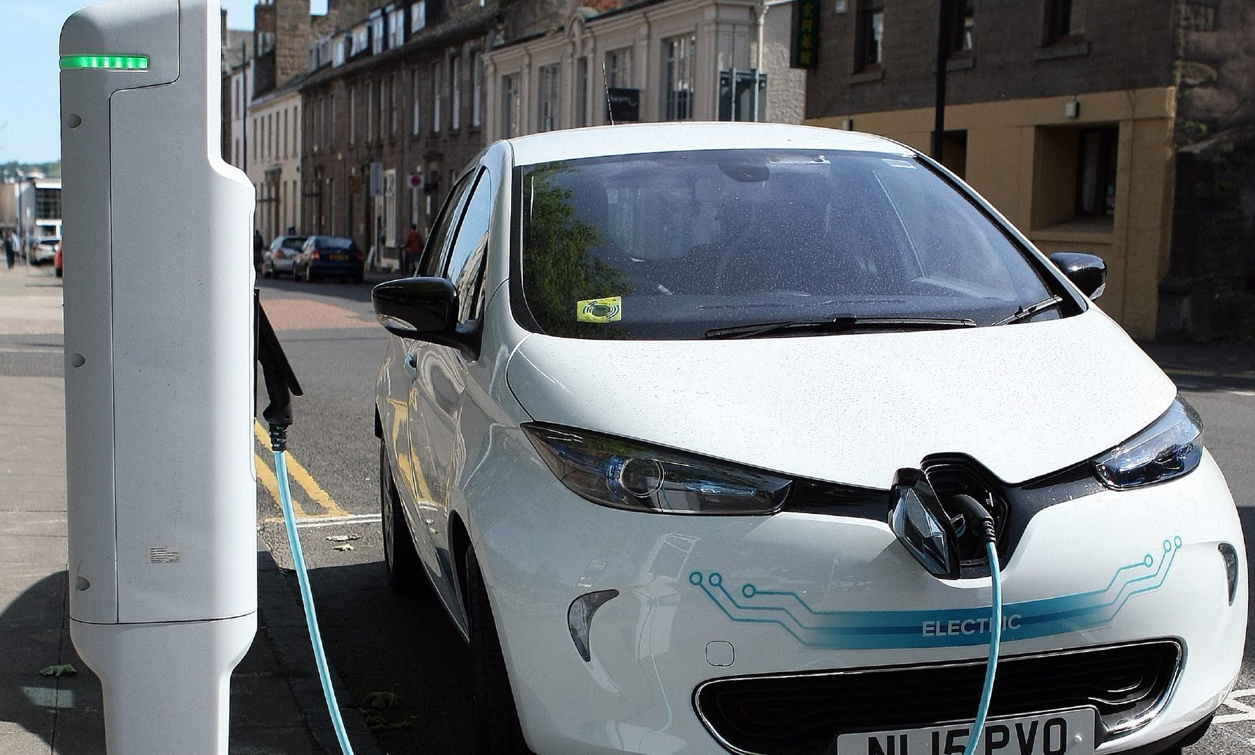 An electric car at a  charging point in South Tay Street, Dundee.