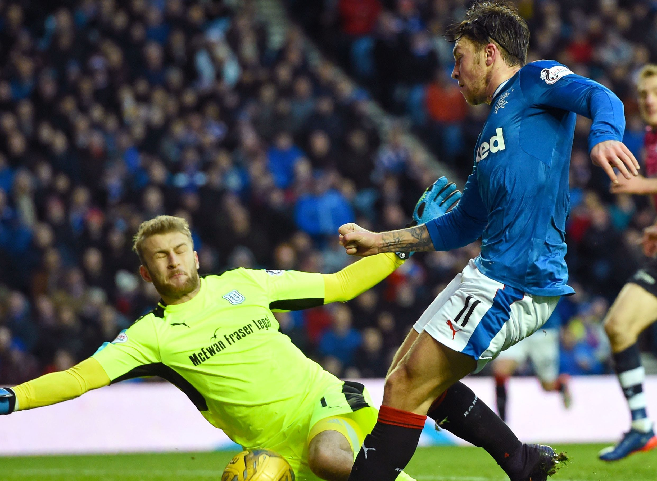 Scott Bain in action at Ibrox.
