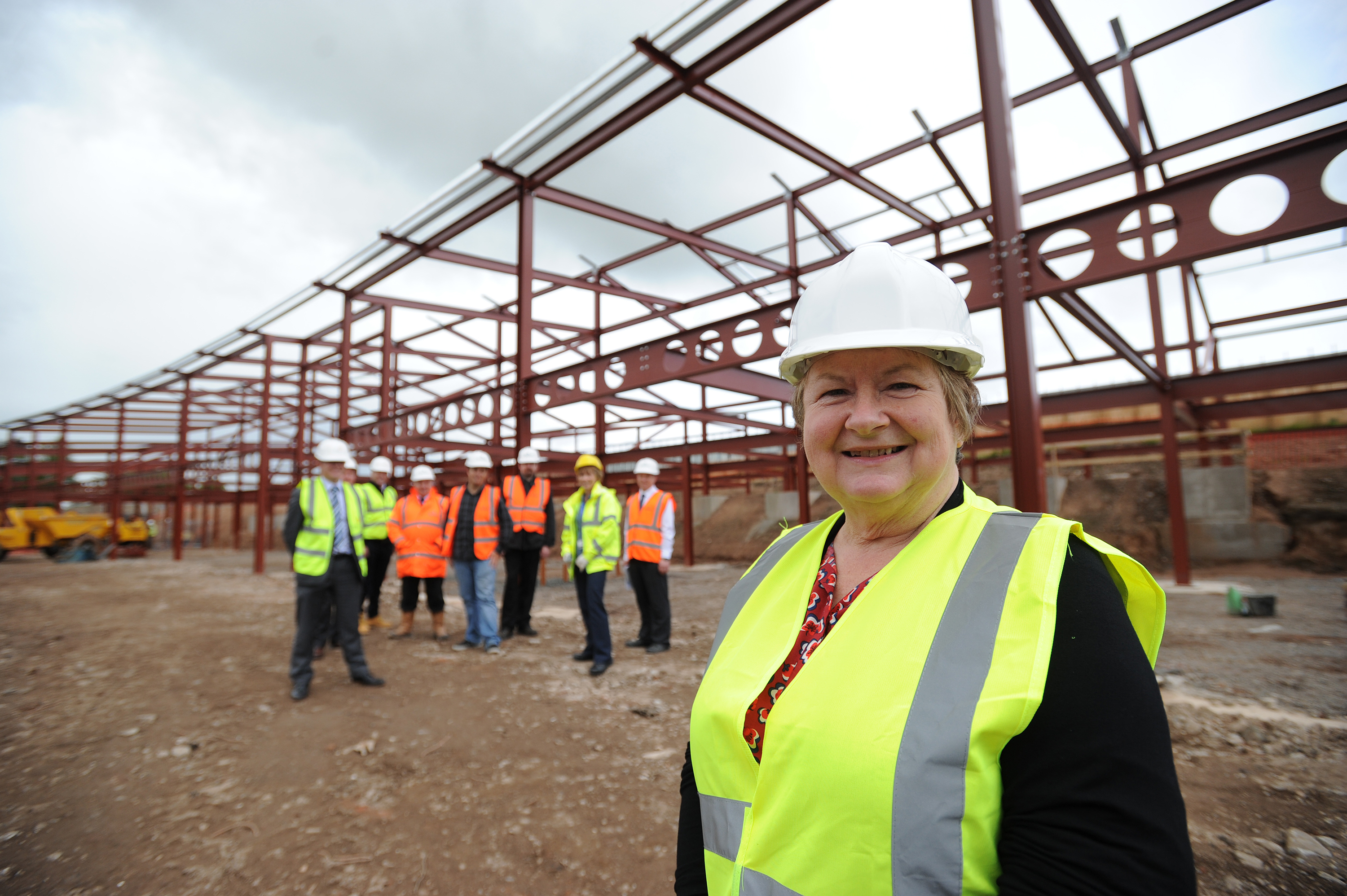Councillor Sheena Welsh oversees some of the building work in Warddykes Avenue.