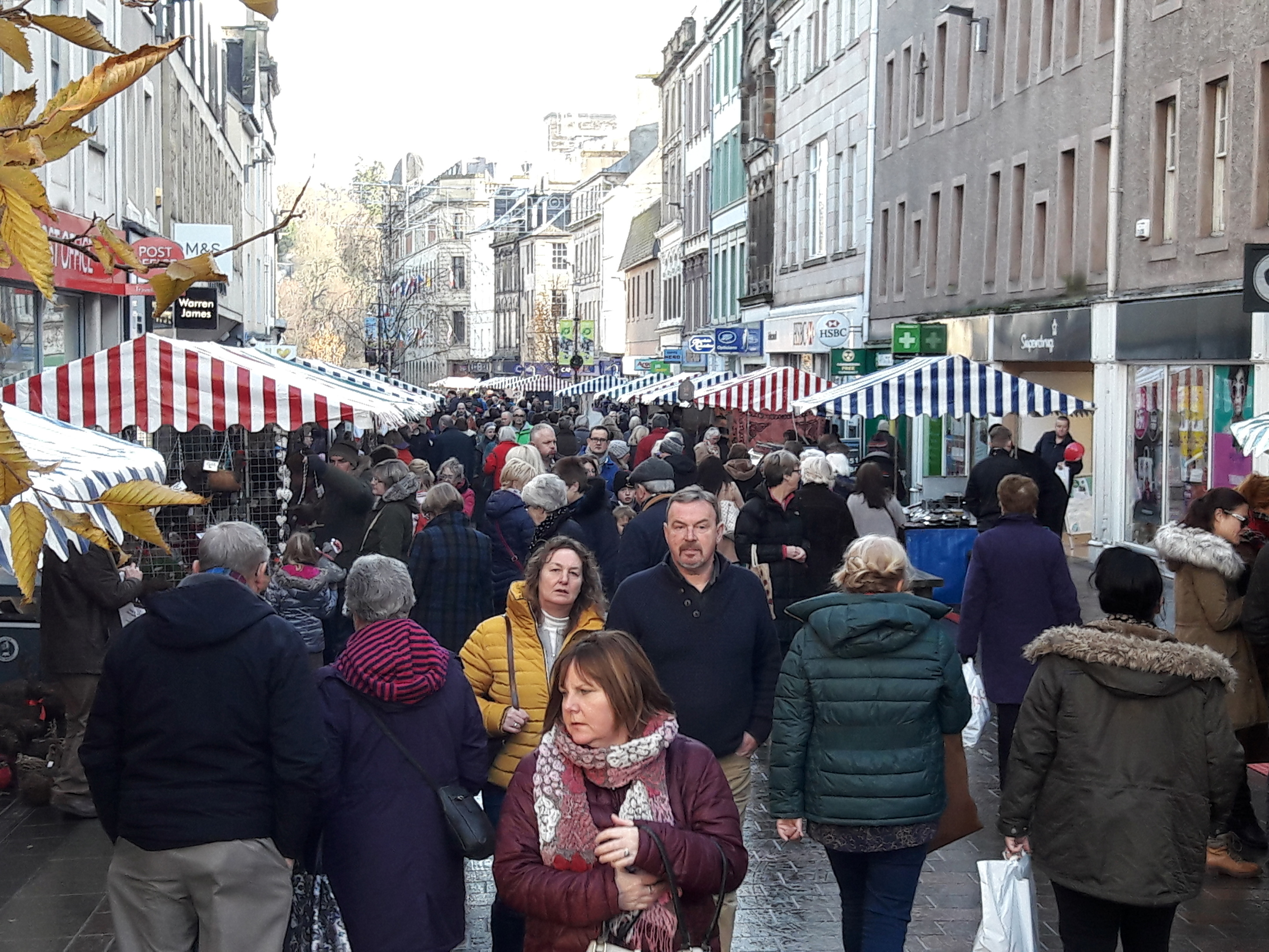 Shoppers thronging to Perth, where the High Street has been filled with stalls.