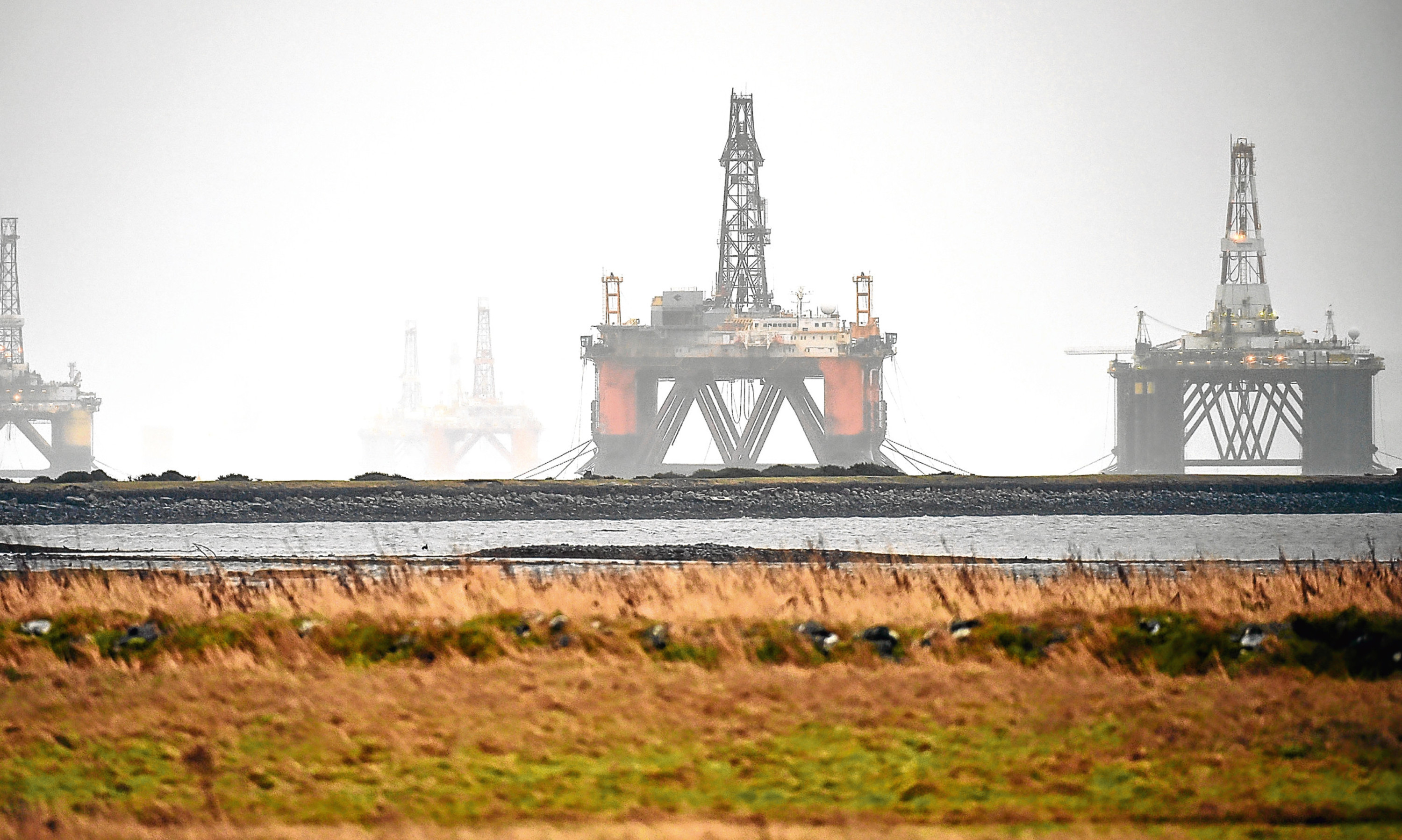 Oil installations laid up in the Cromarty Firth.