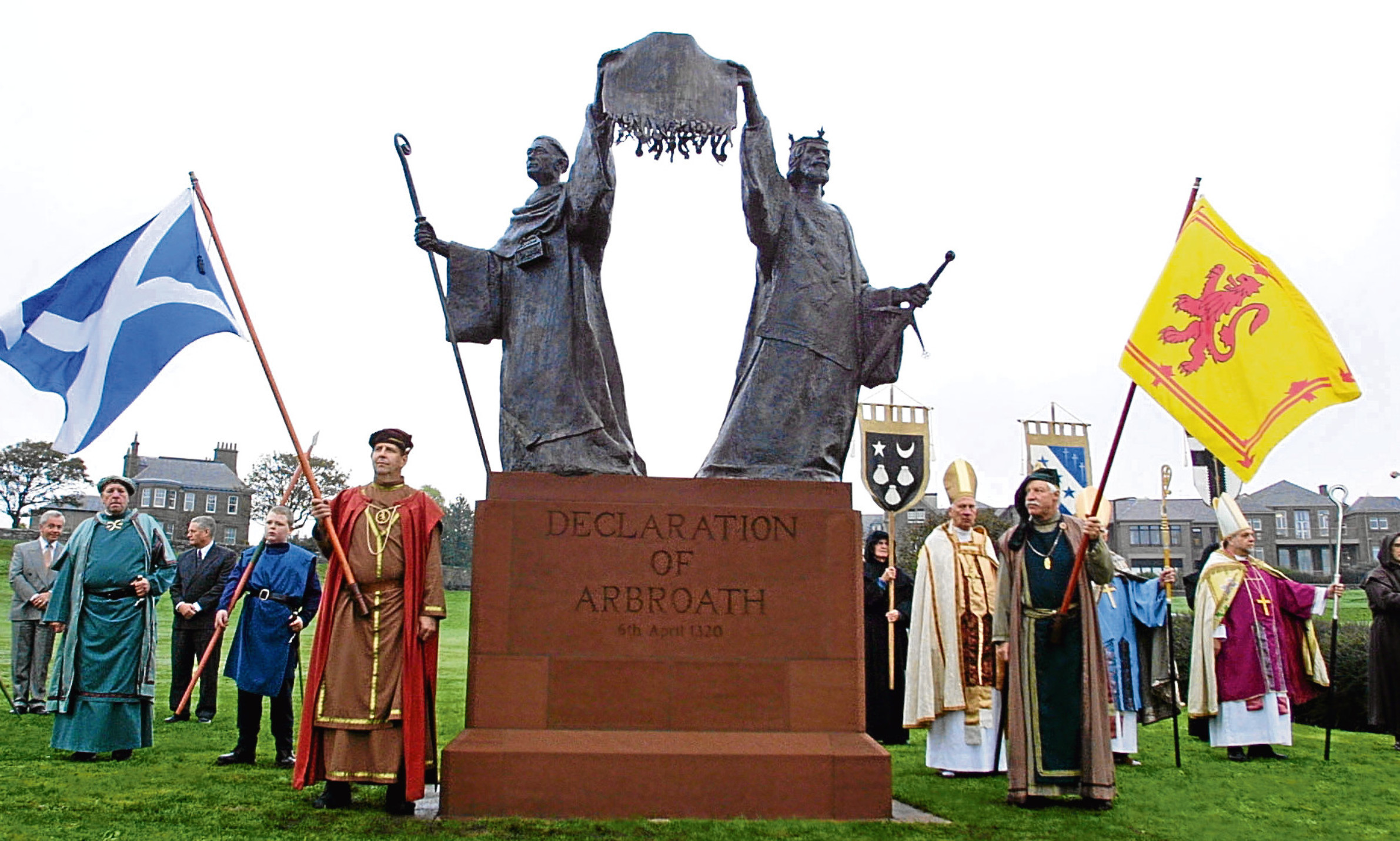 Members of Arbroath Pageant Society take their places during the ceremony to unveil the Declaration of Arbroath statue. Mike thinks we should be shouting about the document a lot louder.