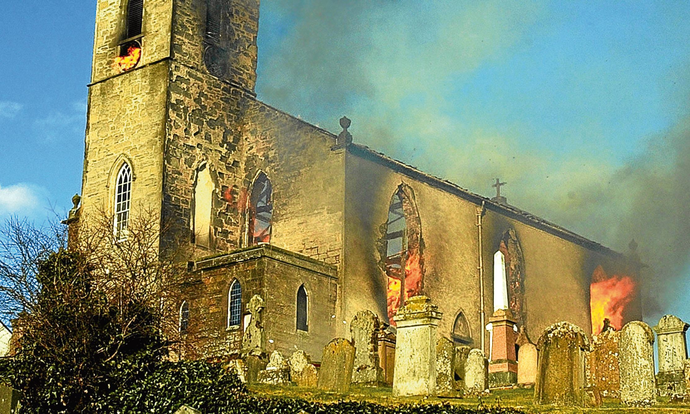 The fire at the Auchtergaven and Moneydie Church, Bankfoot.