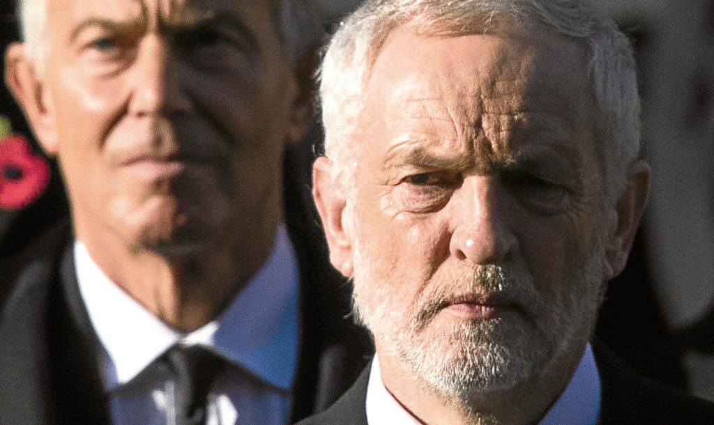 Tony Blair, left, and current Labour leader Jeremy Corbyn, a man he hardly sees eye to eye on with his views.