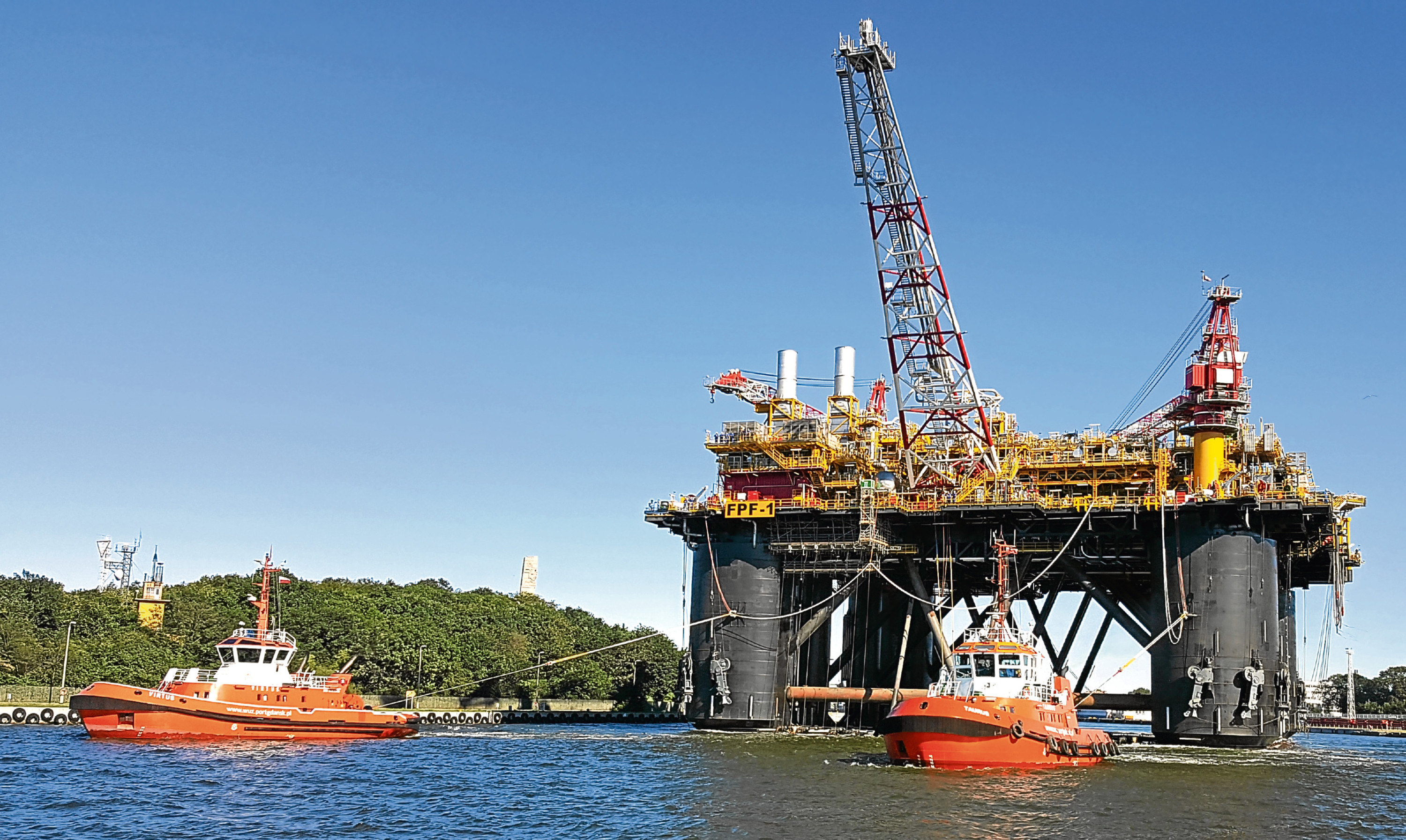 Ithaca Energy's Greater Stella Floating production facility leaves the Remontowa yard in Poland en route for the North Sea
