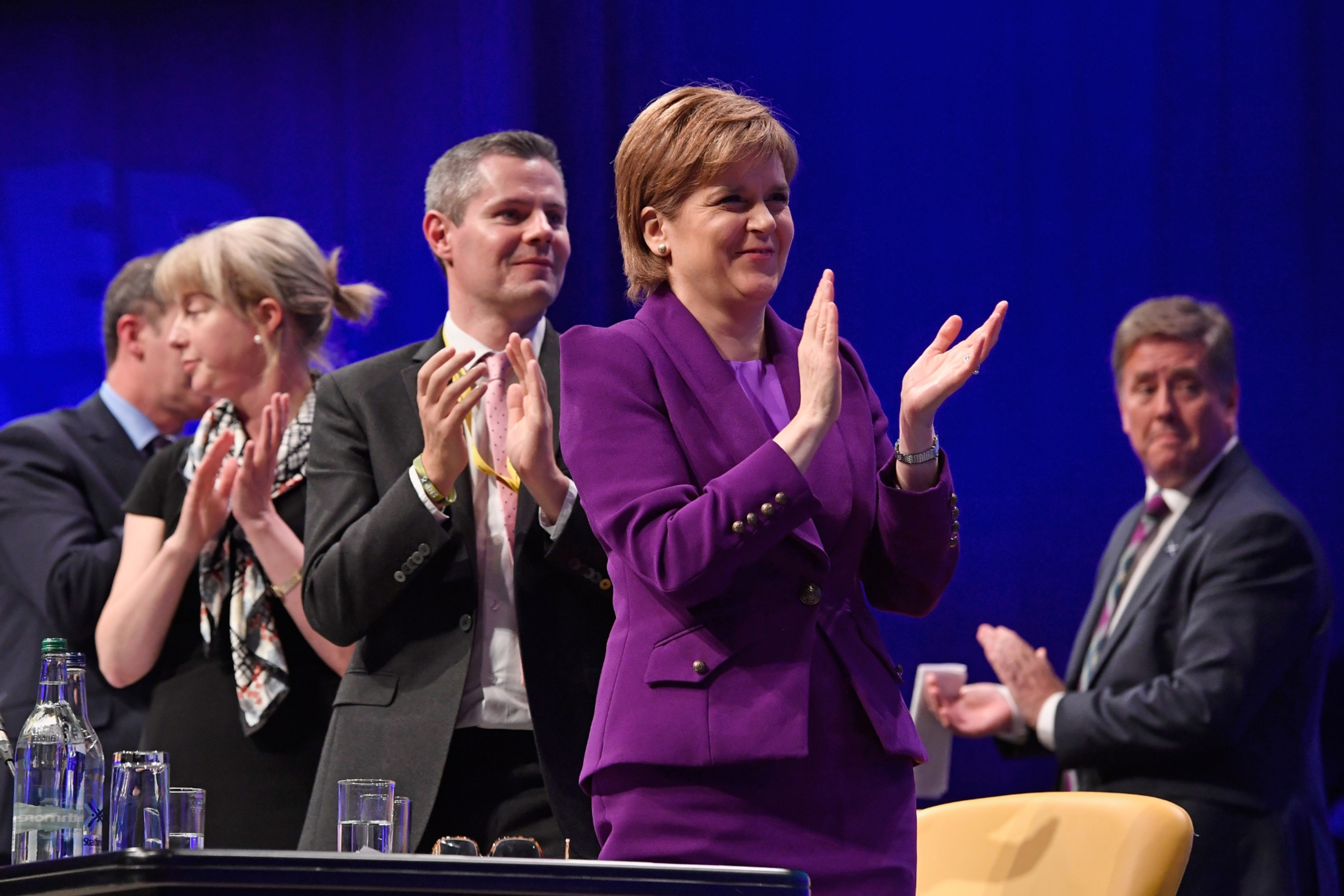 First Minister Nicola Sturgeon at the SNP autumn conference at which she announced the start of consultations for a second Scottish independence referendum.