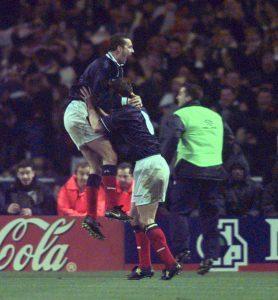 Don Hutchison celebrates his 1999 Wembley goal with Scotland team-mate Craig Burley.
