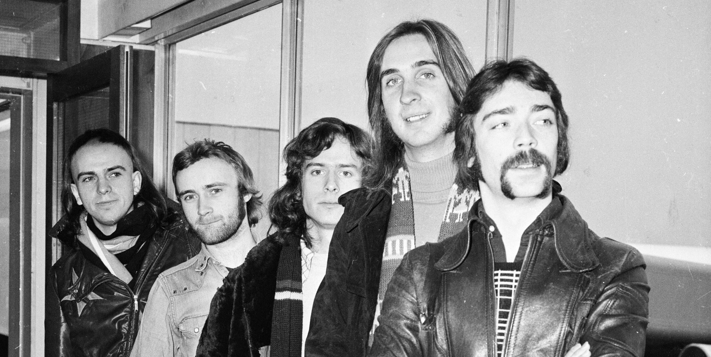 Genesis, (from left) Peter Gabriel, Phil Collins, Tony Banks, Mike Rutherford and Steve Hackett at London Airport in 1974.
