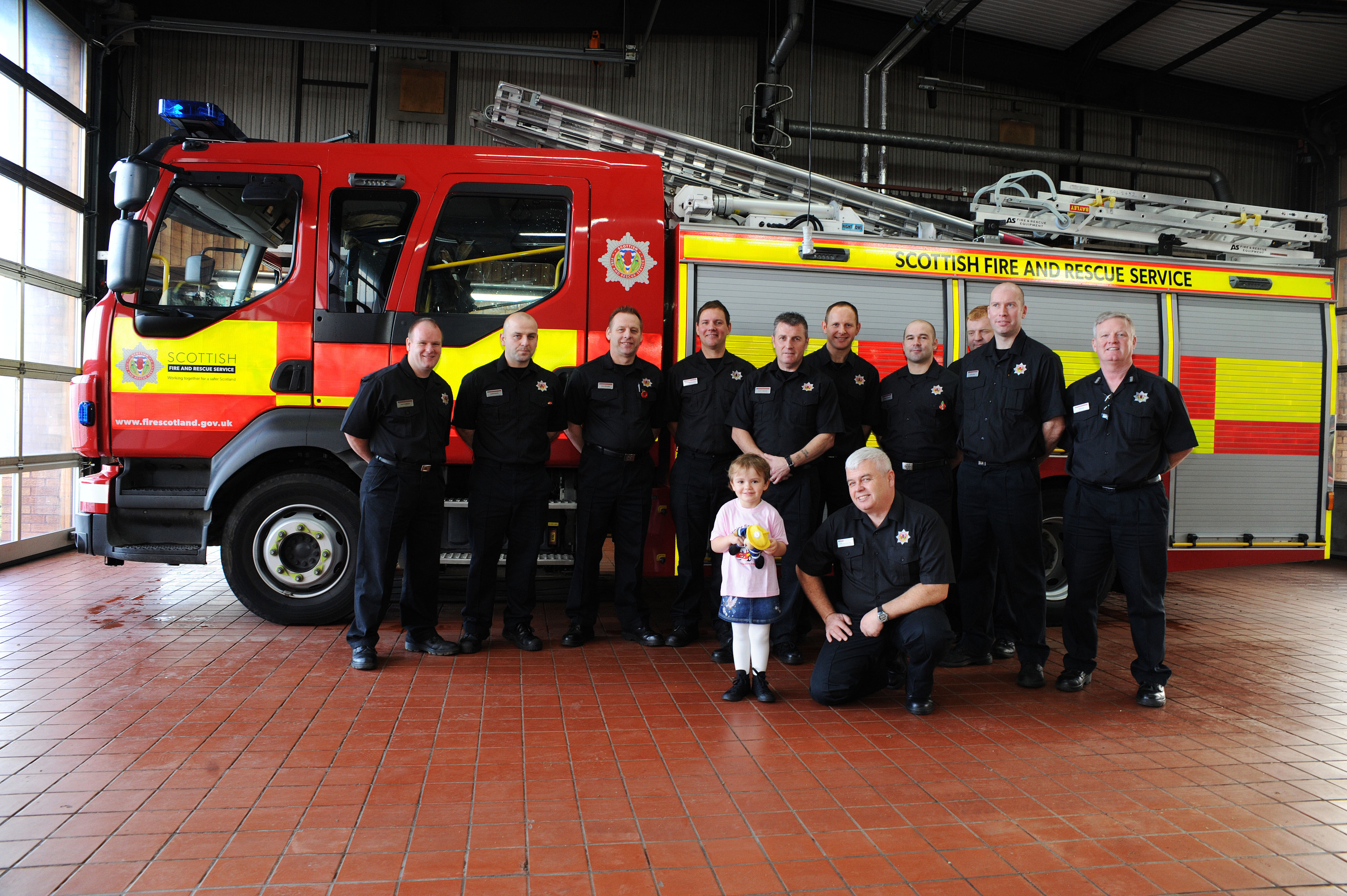 Ava with the red watch at Lochgelly Fire Station
