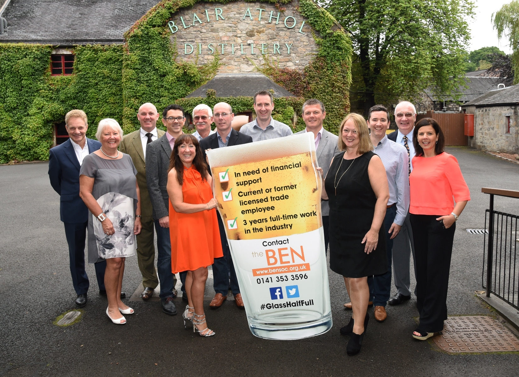 Senior figures from the Scottish licensed trade at the launch of the BEN's Glass Half Full campaign, at Blair Athol Distillery in Pitlochry.