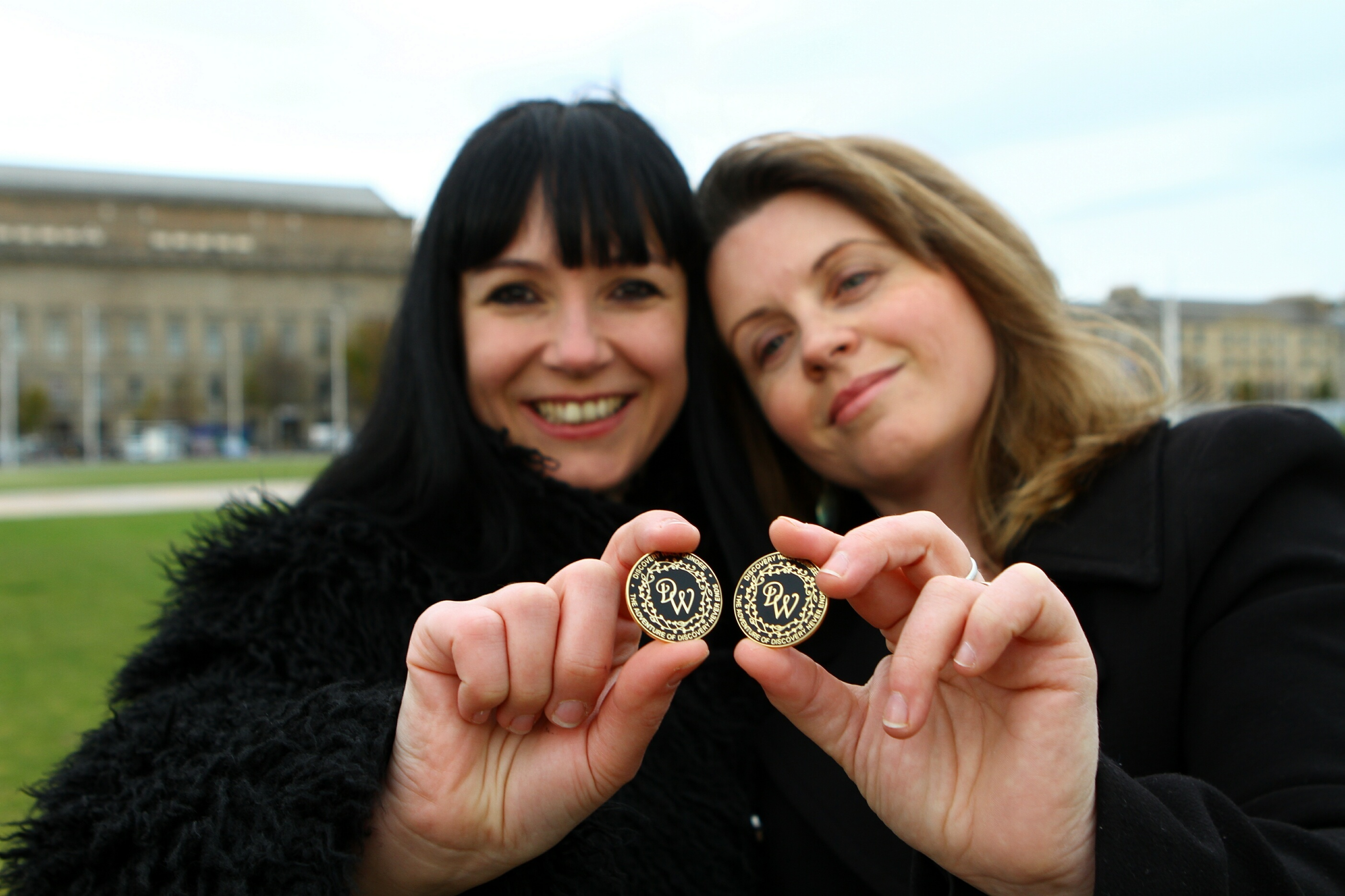Artist Suzanne Scott, left, designer of the Discovery Walk plaques and Kelly Marr - project originator.