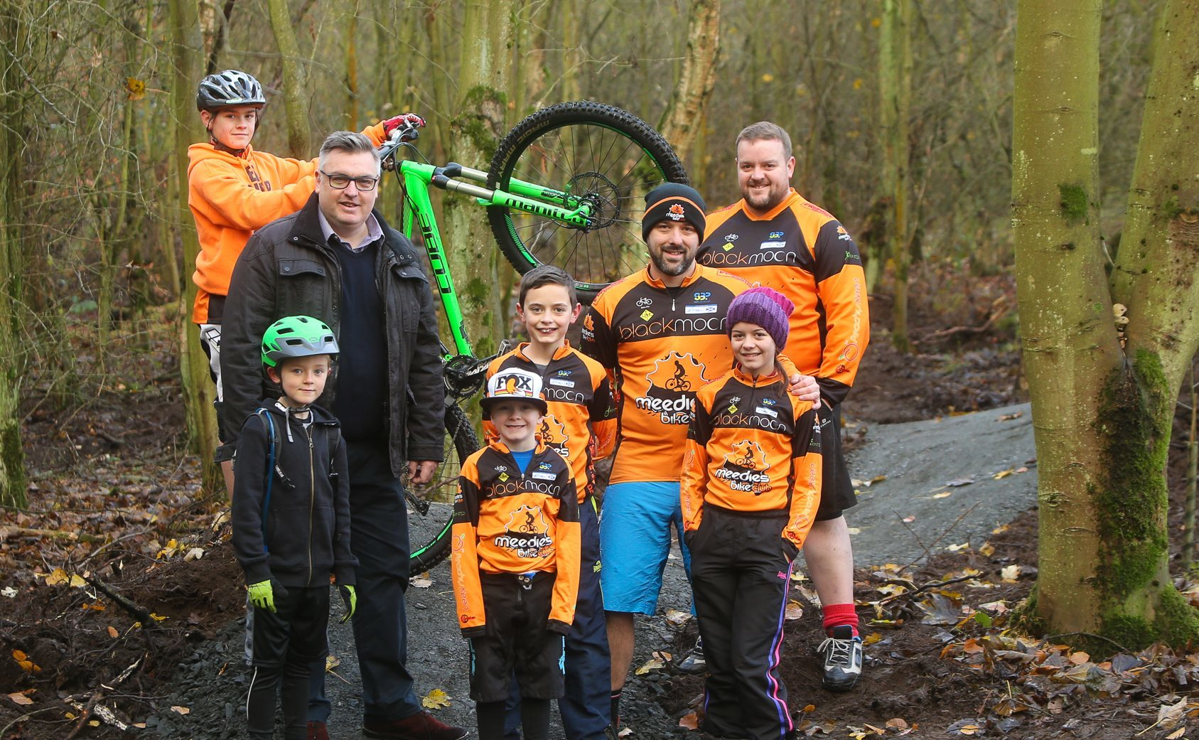 Councillor Mark Hood meets some of the bike trail cyclists
