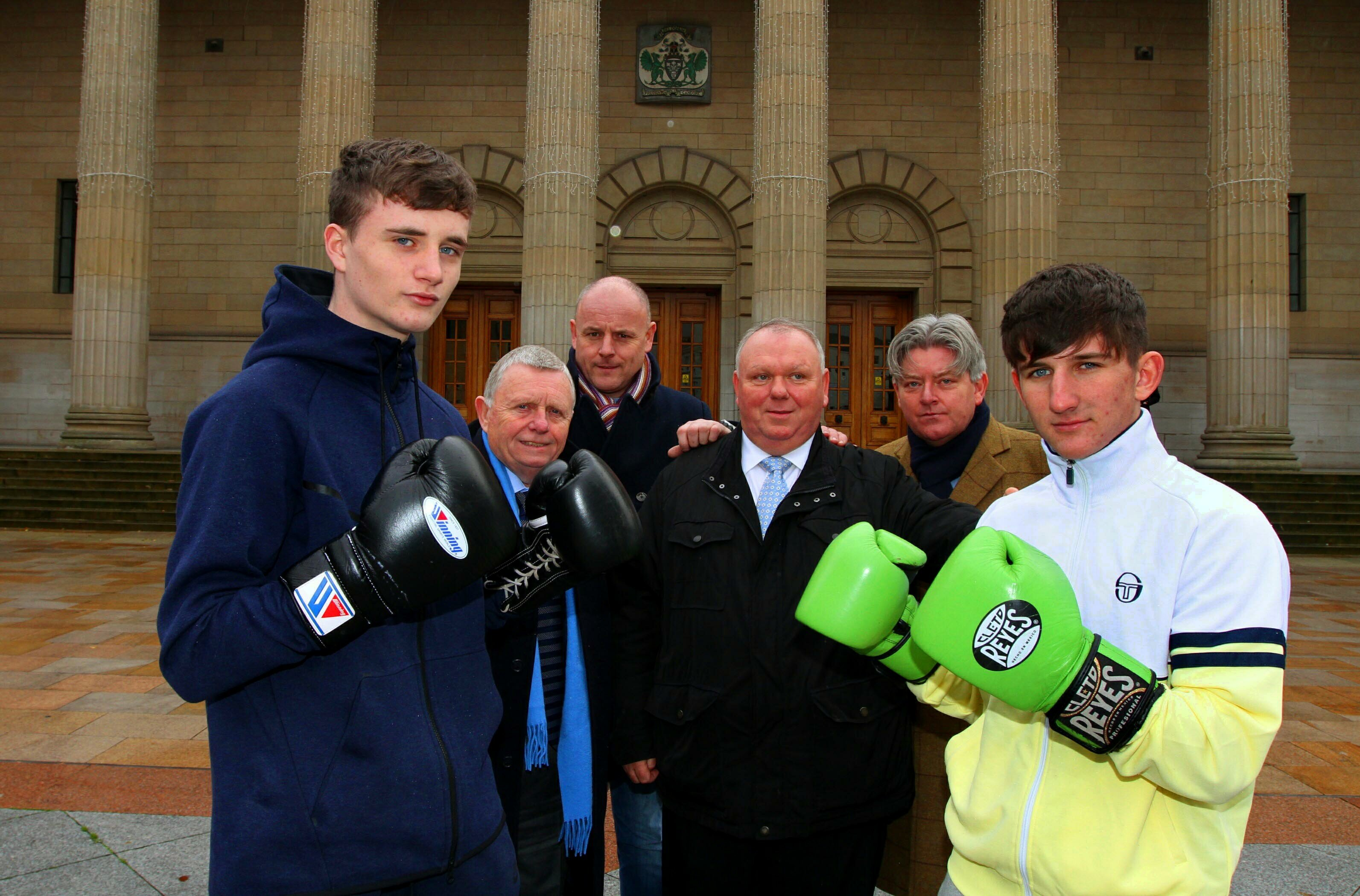 Evening Telegraph News-Caird hall boxing,picture shows, at the launch of the Scotland v England boxing match at Caird Hall Dundee raising funds in the name of Mike Towell are boxers Sam Hickey and Charlie Doig ( who will be fighting on the night), Joe Duffy (St Francis boxing club),Darren Hickey ( lochee boys boxing club), Jimmy Marr, and Sean McMahon (both St Francis boxing club), wednesday 9th november.