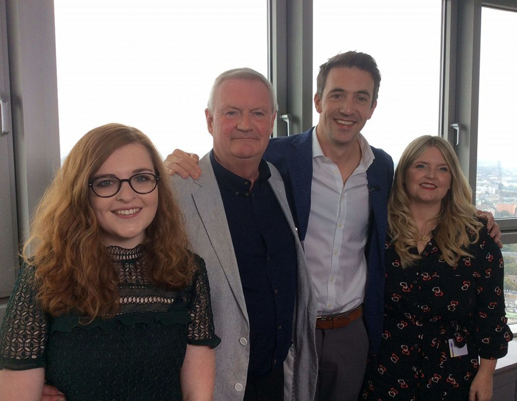 One Show presenter Joe Crowley (second right) with the new voice of BT's speaking clock service Alan Steadman alongside fellow finalists Crea Barton (left) and Verity Giles.