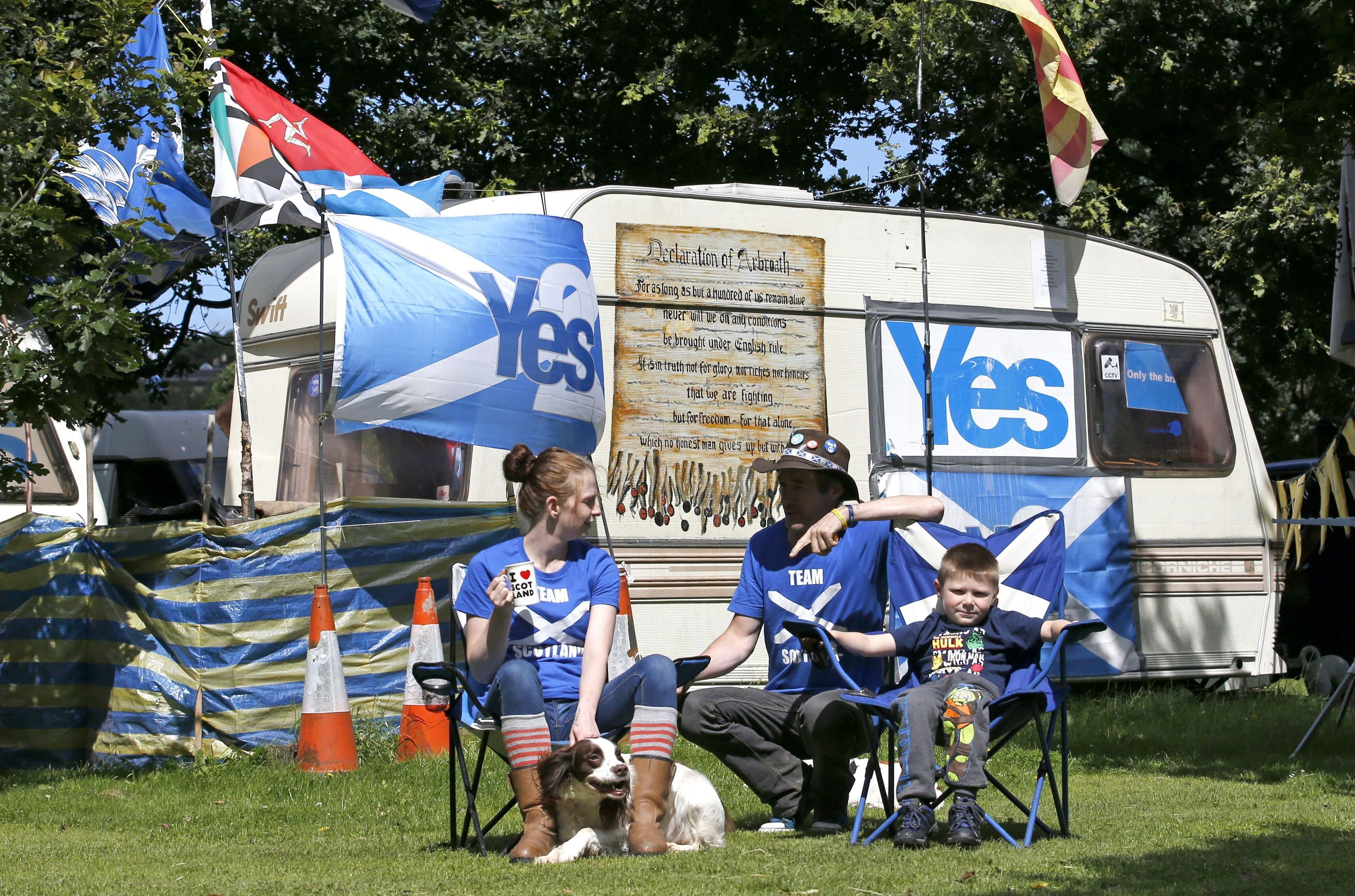 Some of the independence campaigners who set up camp outside the Scottish Parliament and lost their court battle against eviction.