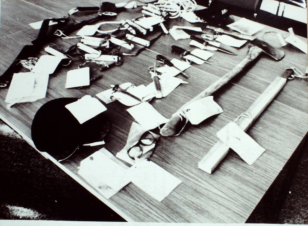 The deadly arsenal of weapons used by Mone and McCulloch during the Carstairs breakout.