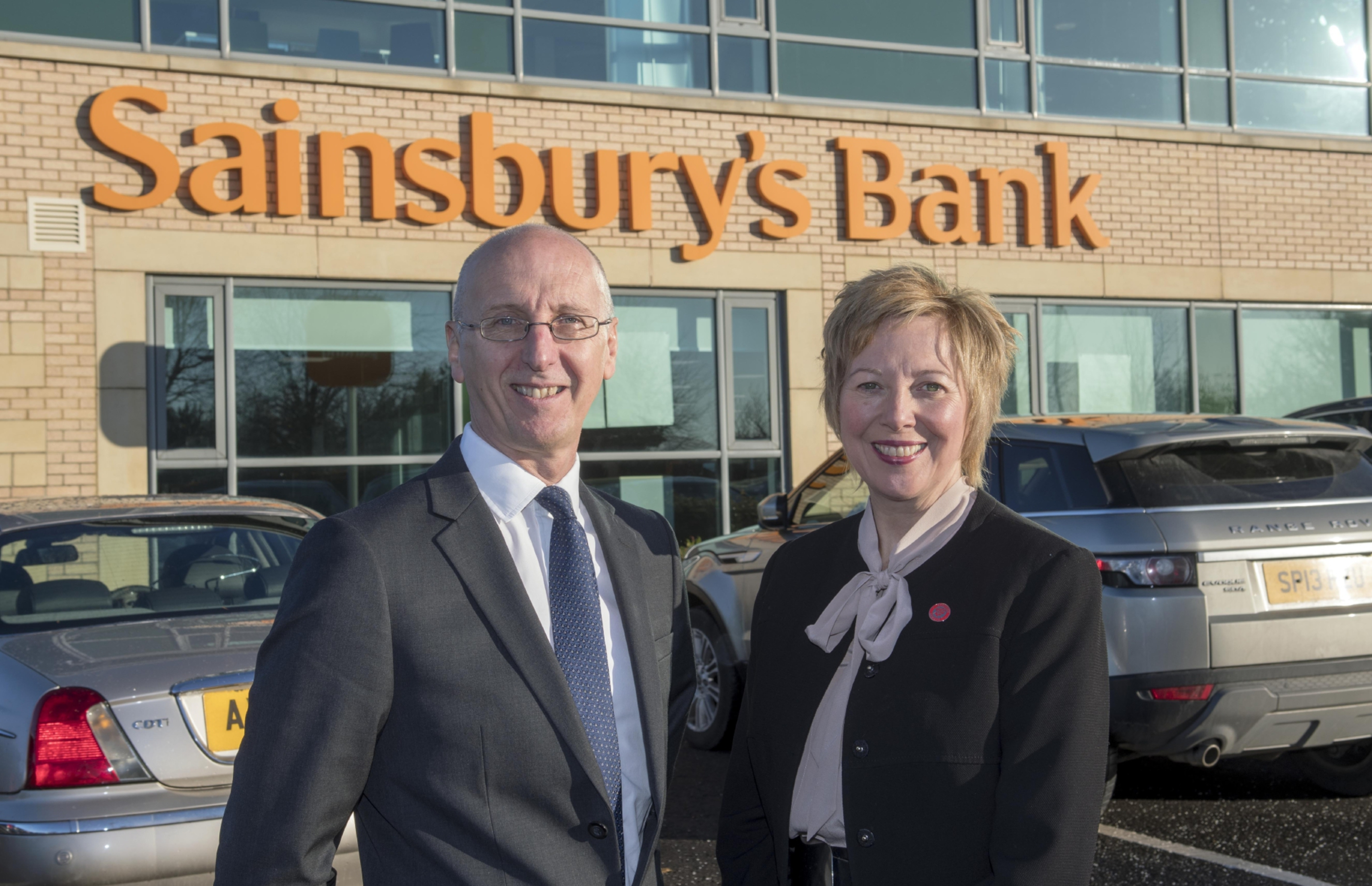 Sainsbury's Bank chief executive Peter Griffiths and Councillor Lesley Laird at the new customer contact centre in Rosyth.