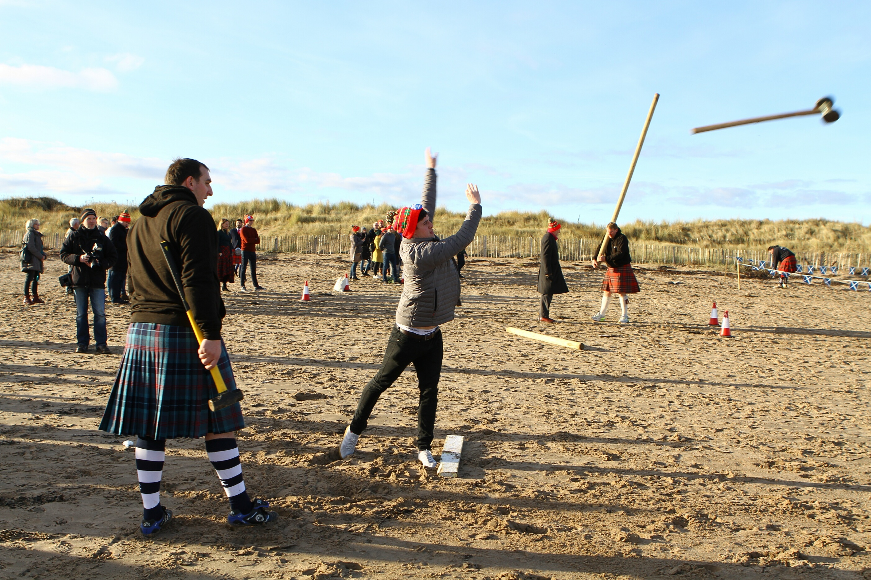 One of the Andrews at the West Sands in St. Andrews, taking part in the Highland Games.