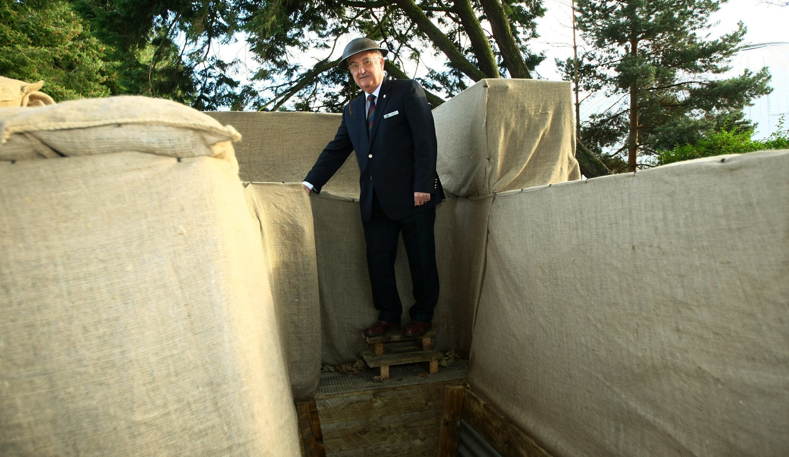 Volunteer Rodger Scott in the replica World War One trench at the Black Watch Museum,