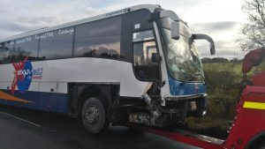The damaged Stagecoach bus.