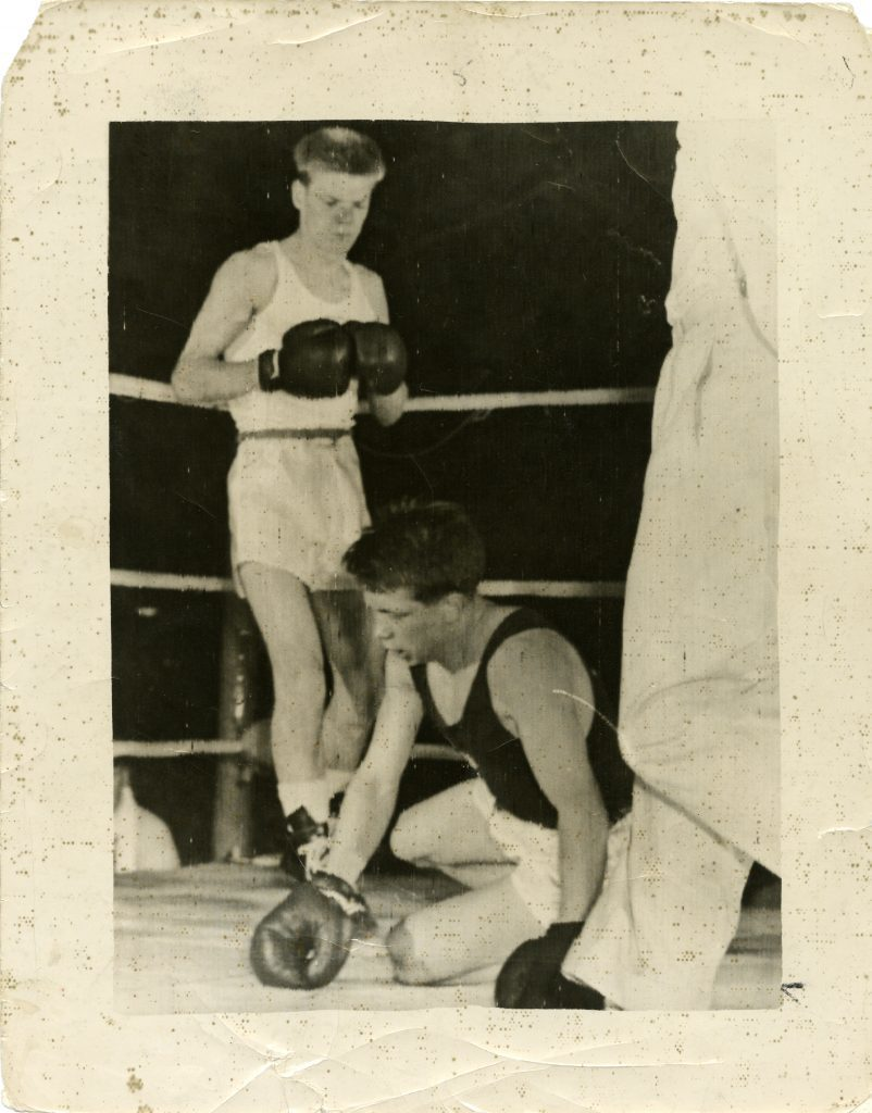 Dick McTaggart fighting Harry Kuschna at the 1956 Olympics