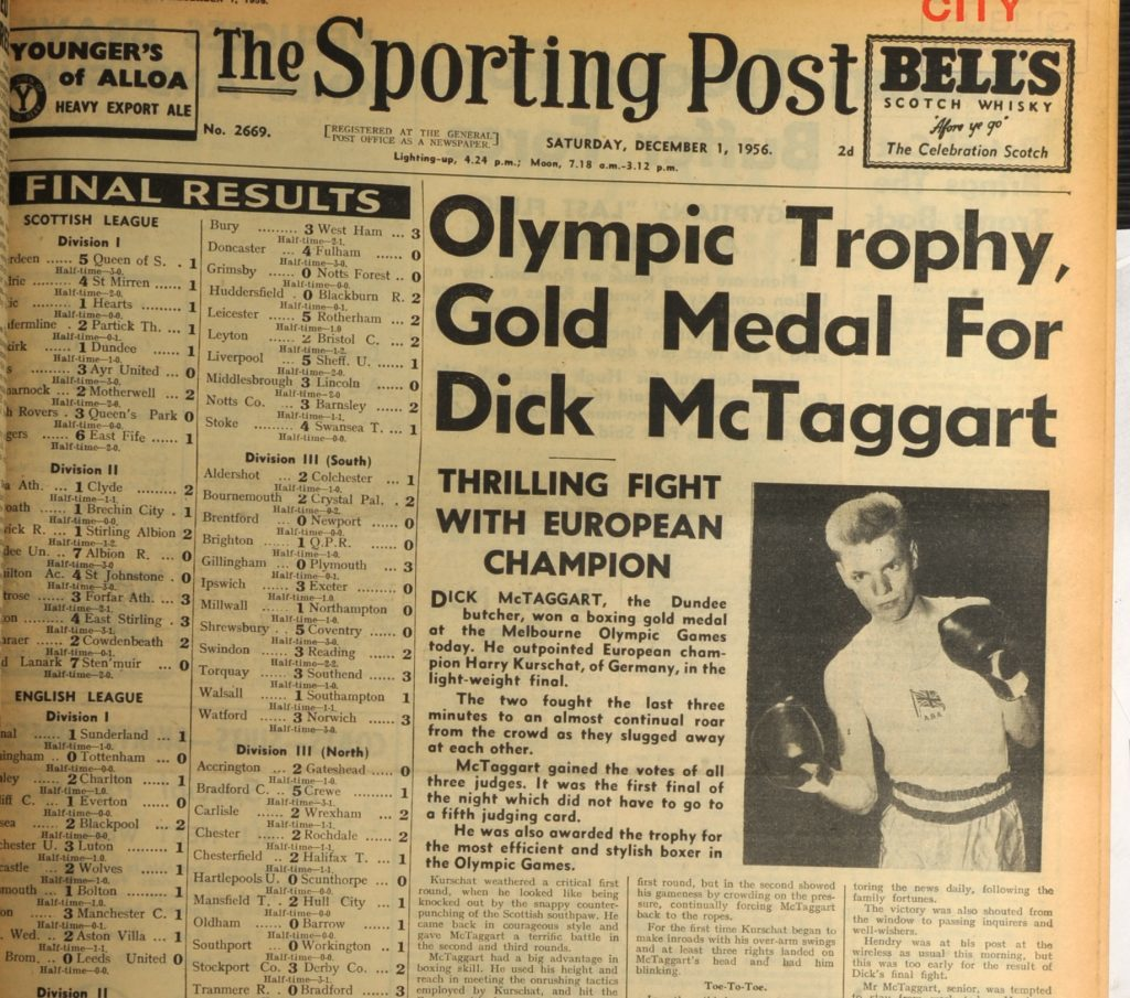 How the Sporting Post reported his 1956 gold medal victory at the Olympics