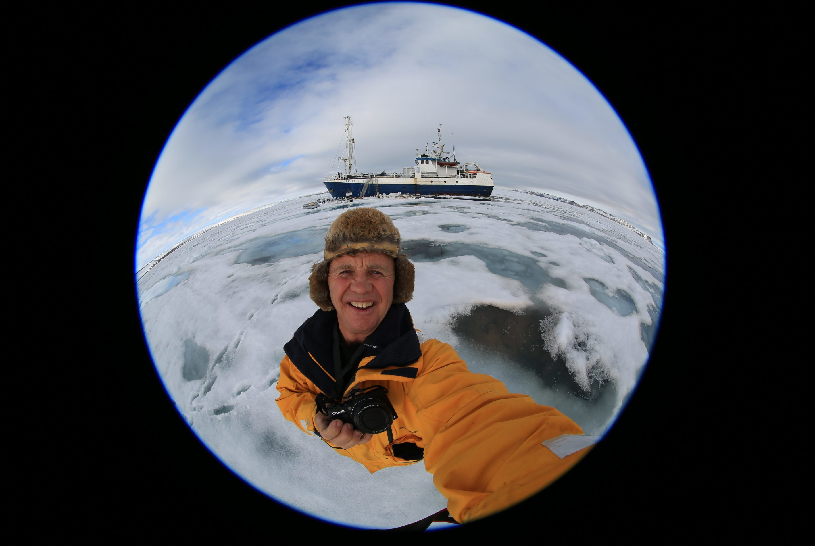 Cameraman Doug Allan on the ice.