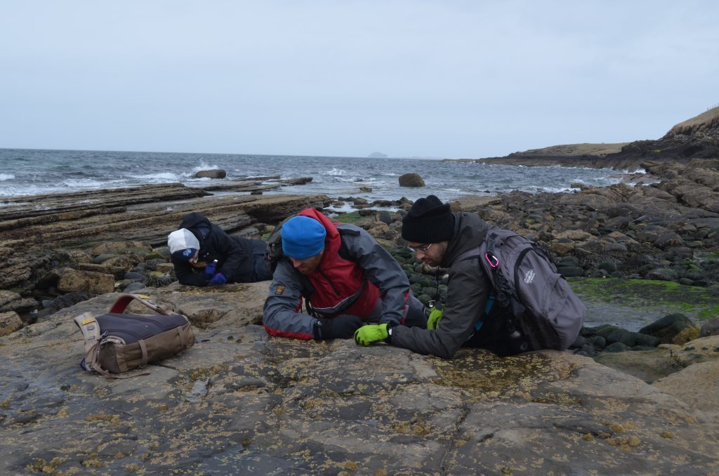 Members of Dr Steve Brusattes team hunting for dinosaur fossils on the Isle of Skye