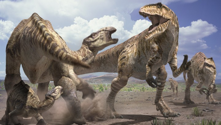 Artist's impression of dinosaurs.