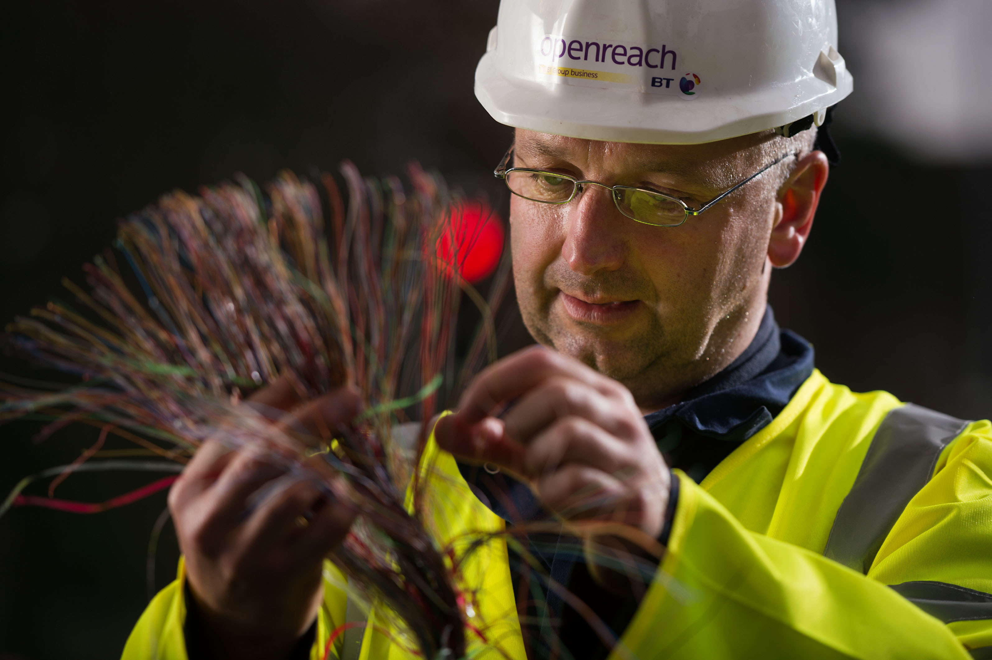 BT Openreach engineer Alistair Mcgowan working on the rollout of high-speed fibre broadband.
