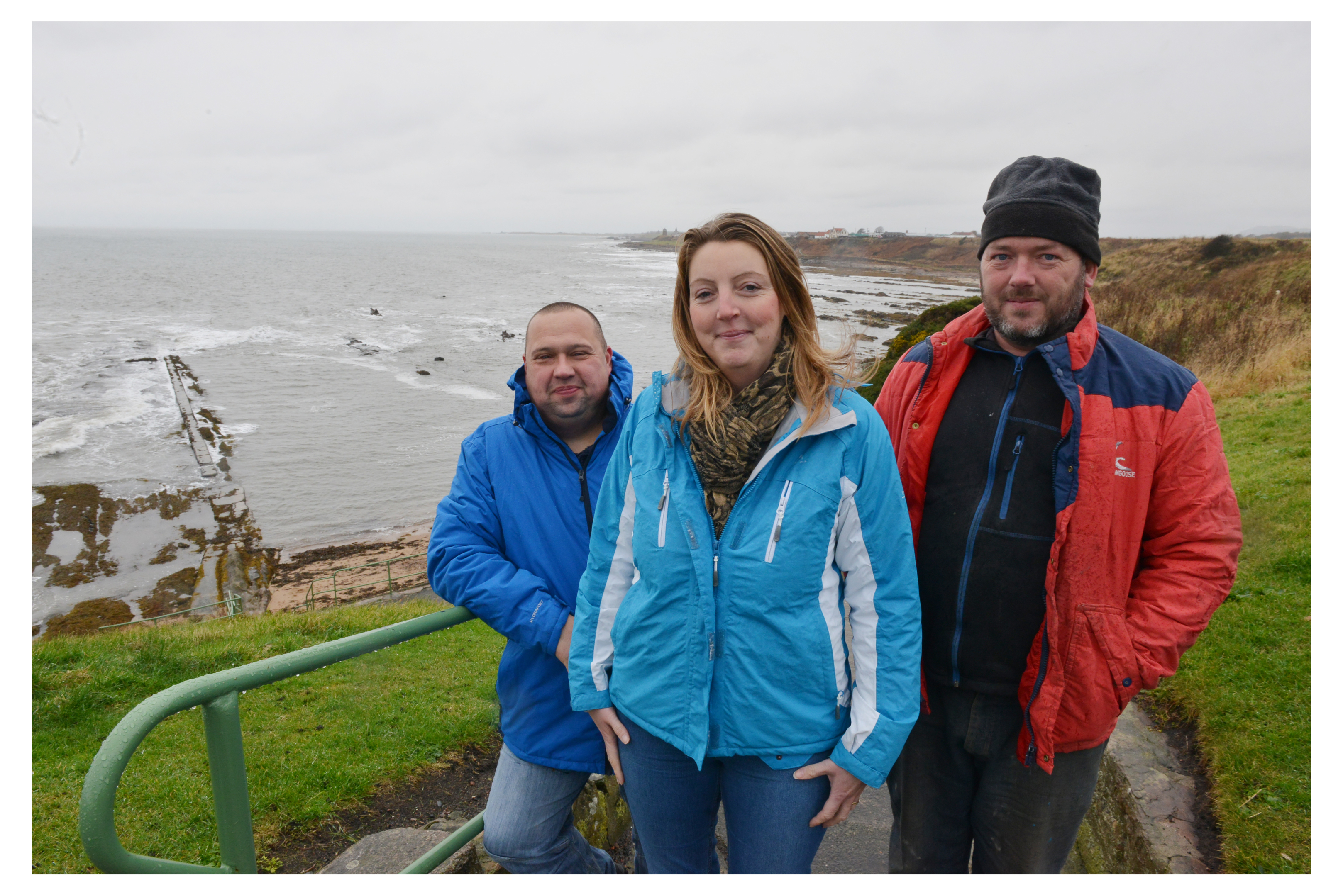 David Thomson, Robin Bremner and Nicola Thomson of the West Braes Project at the swimming pool