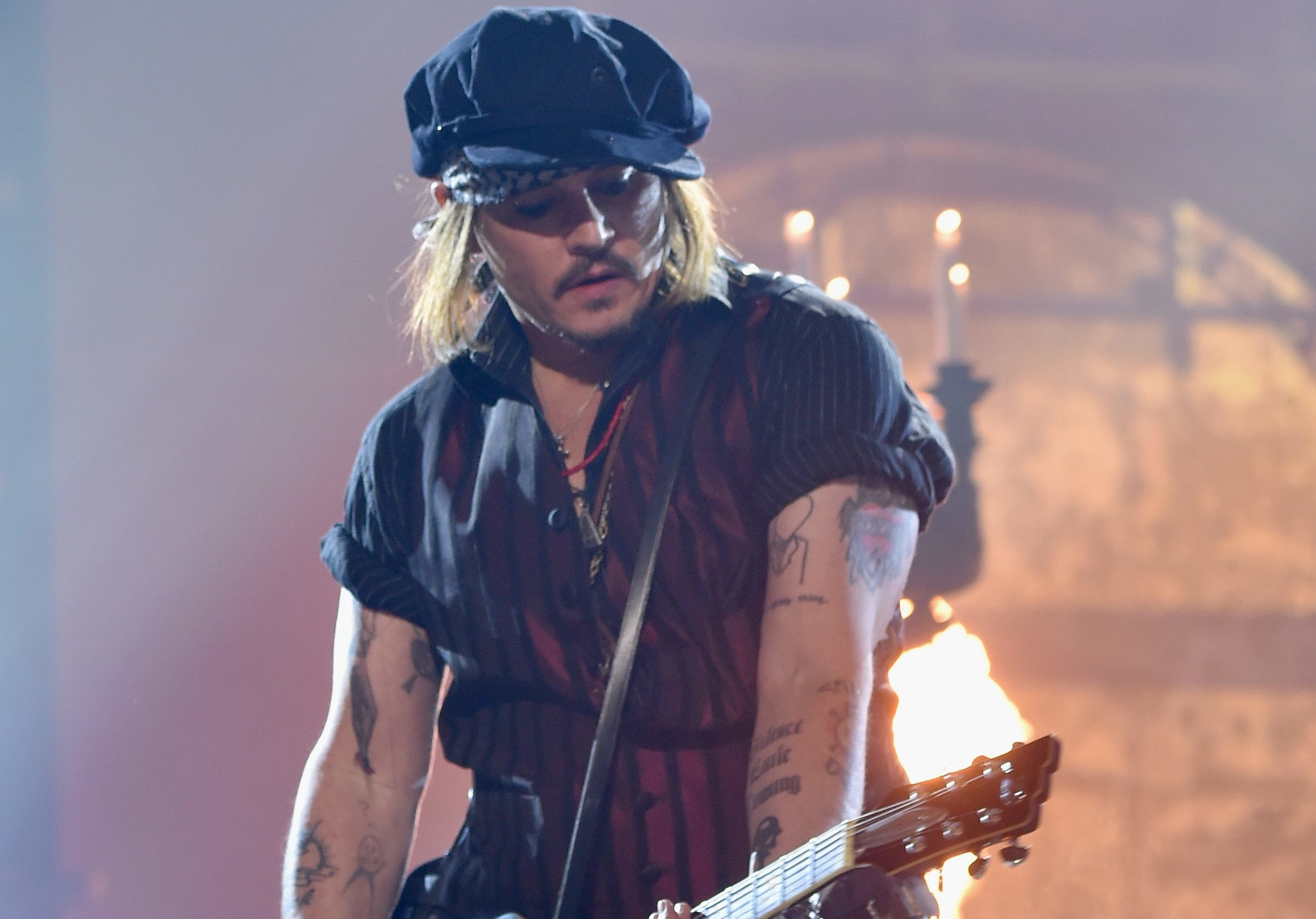Johnny Depp onstage during the 58th Grammy Awards earlier this year