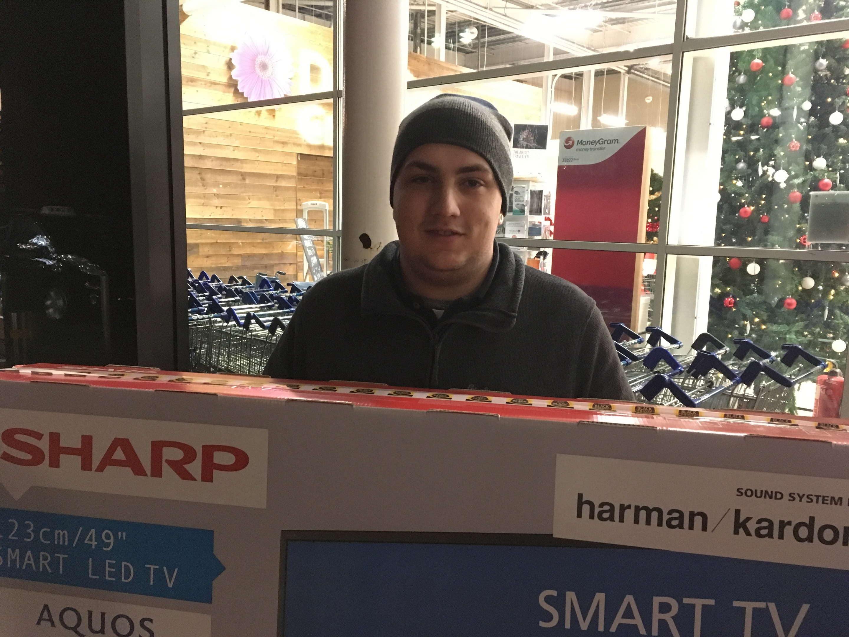 The early bird catches the worm - Kieran Davidson from Dundee with his Black Friday TV.