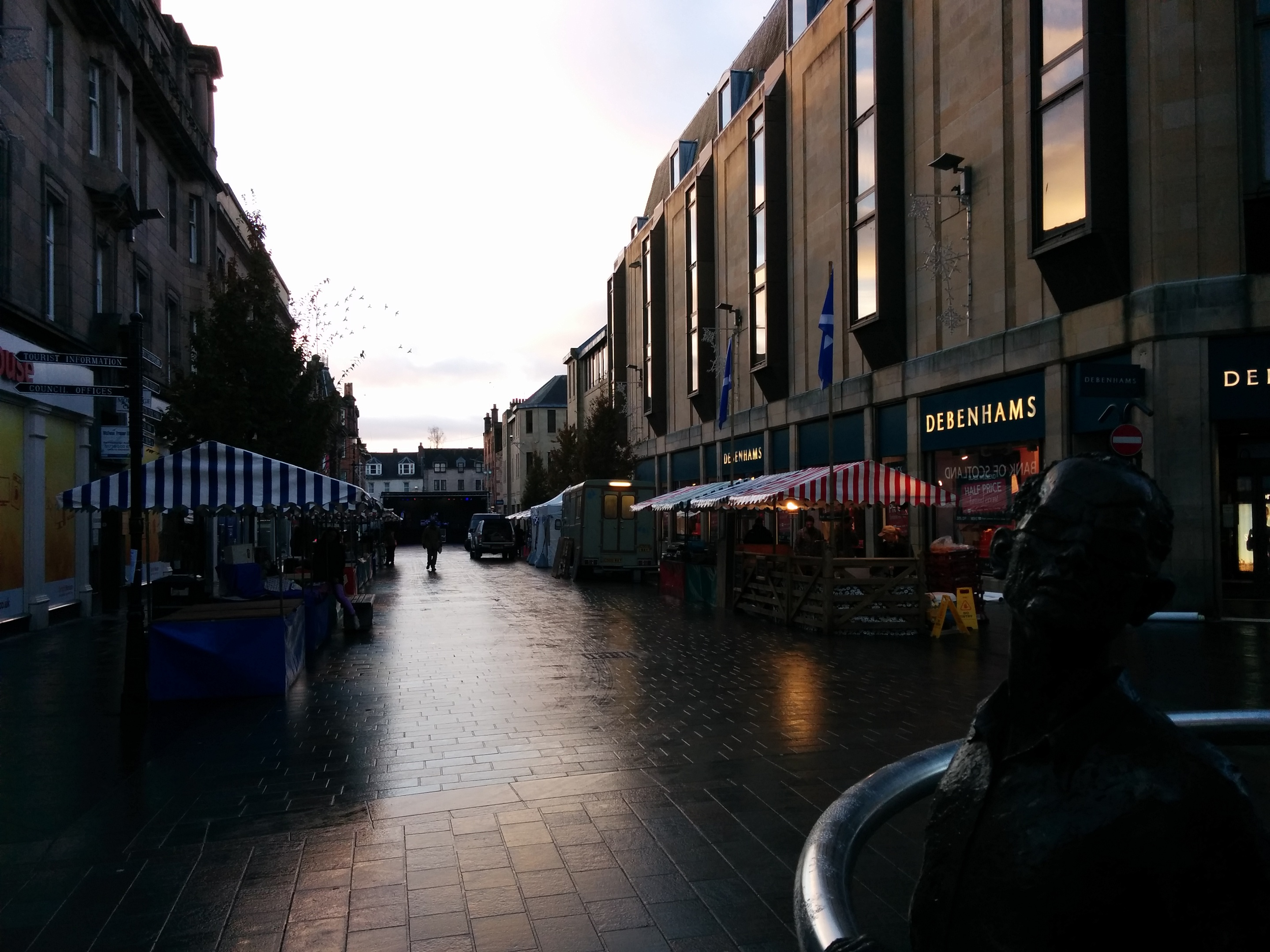 Stallholders set up in King Edward Street and await the crowds