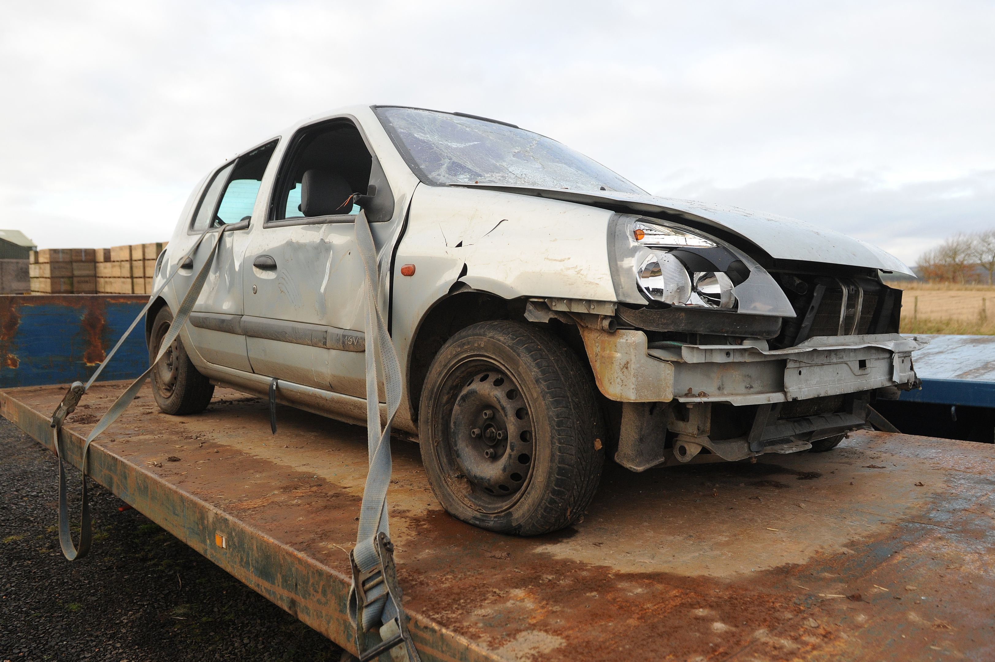The wrecked vehicle.