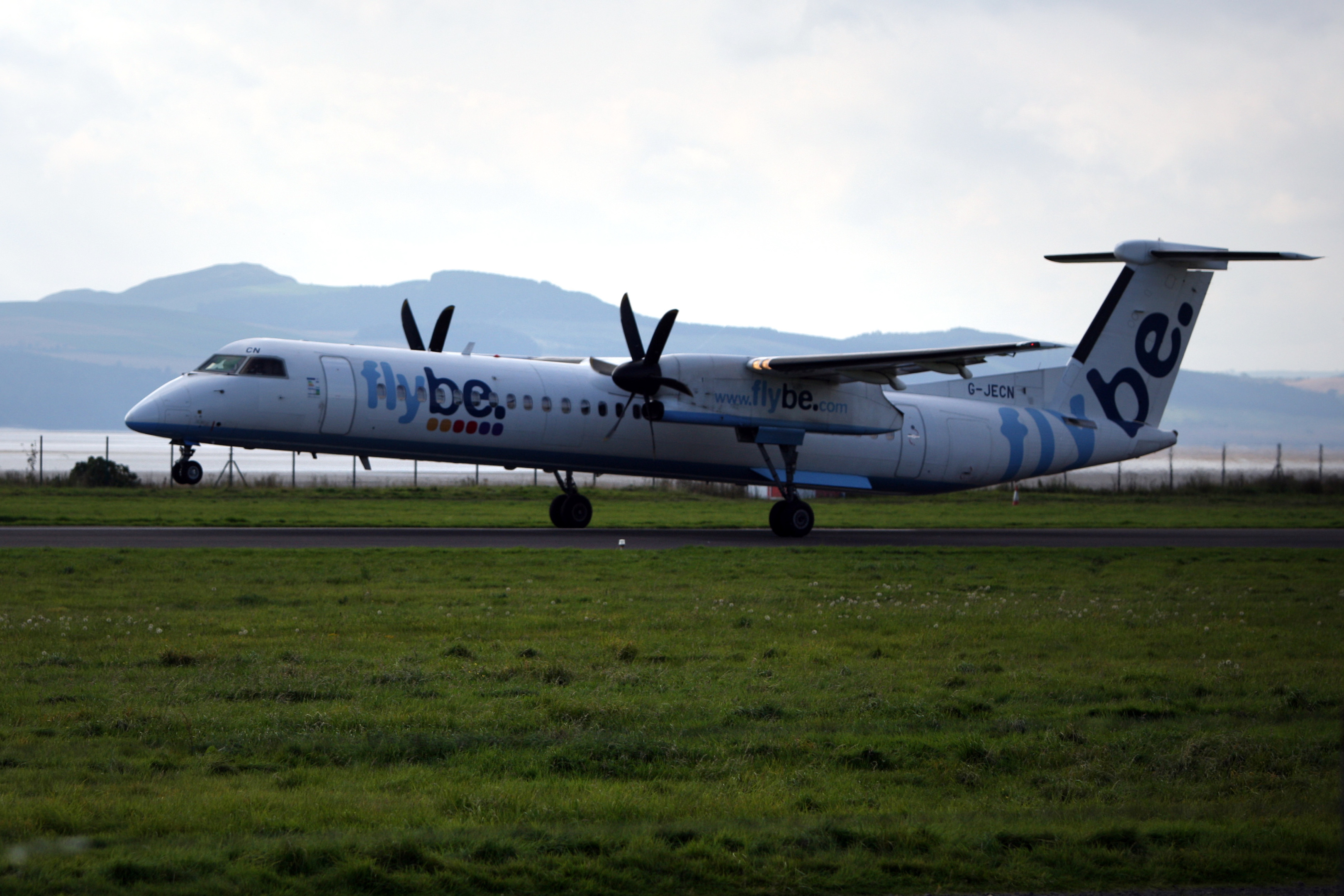 A FlyBe flight leaving Dundee airport for Amsterdam in September.