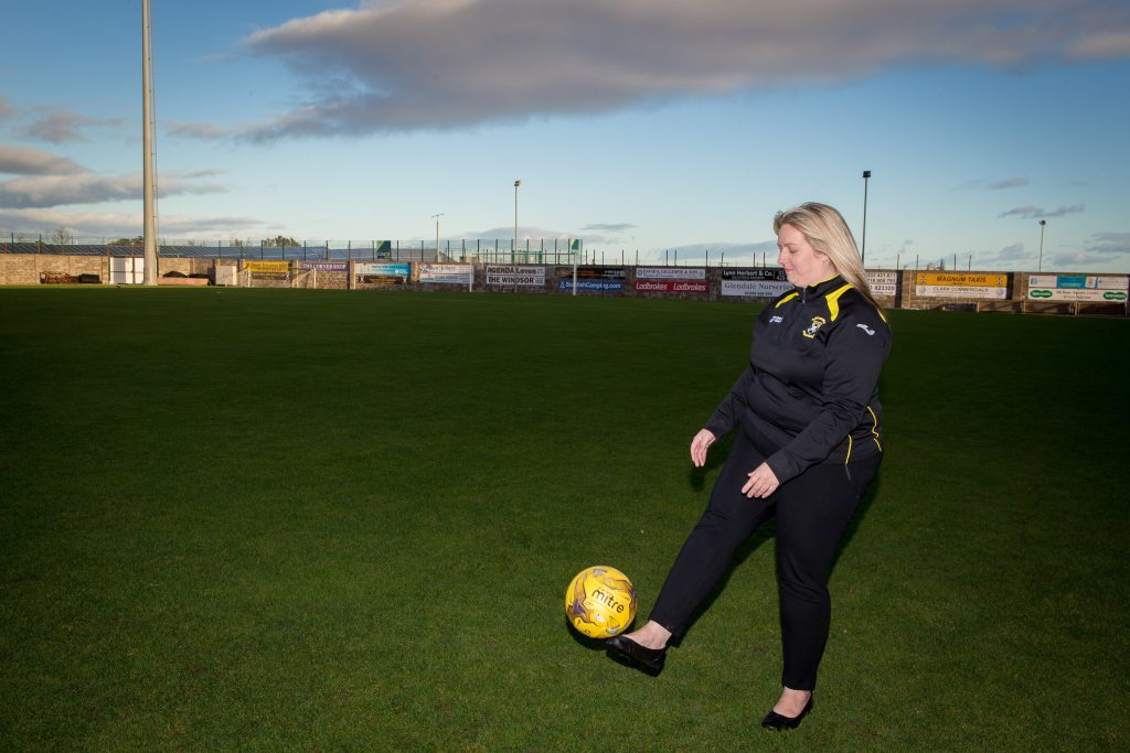 Head of East Fife Youth Academy Lorna McAuley has a kickabout on the pitch at Bayview