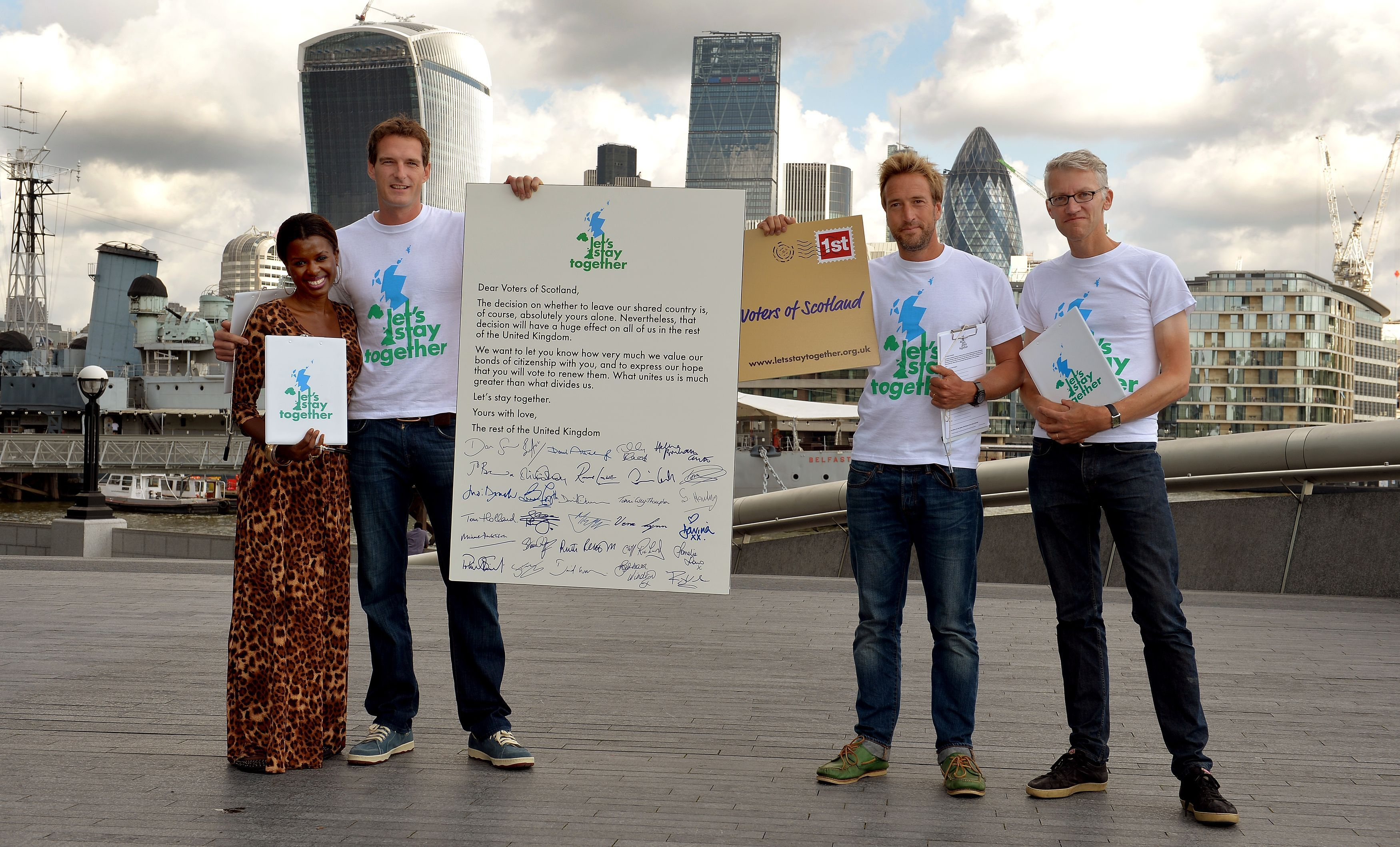 "Dan Snow (second left) and Tom Holland (right) were involved in a celebrity ""love-bomb"" appeal to Scotland during the first independence referendum."
