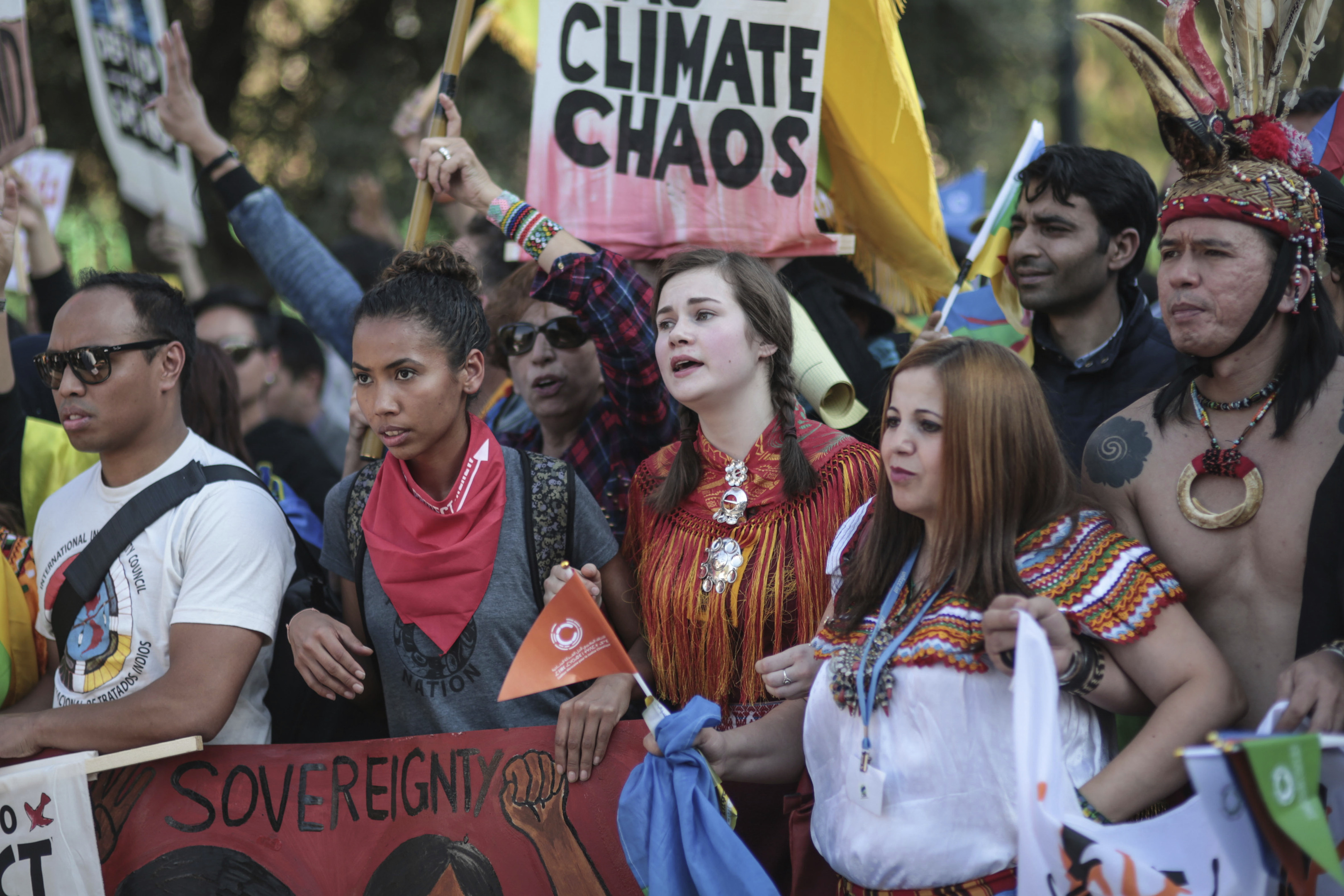 Protesters urge world leaders to take action, in a march coinciding with the Climate Conference, known as COP22, taking place in Marrakech, Morocco.