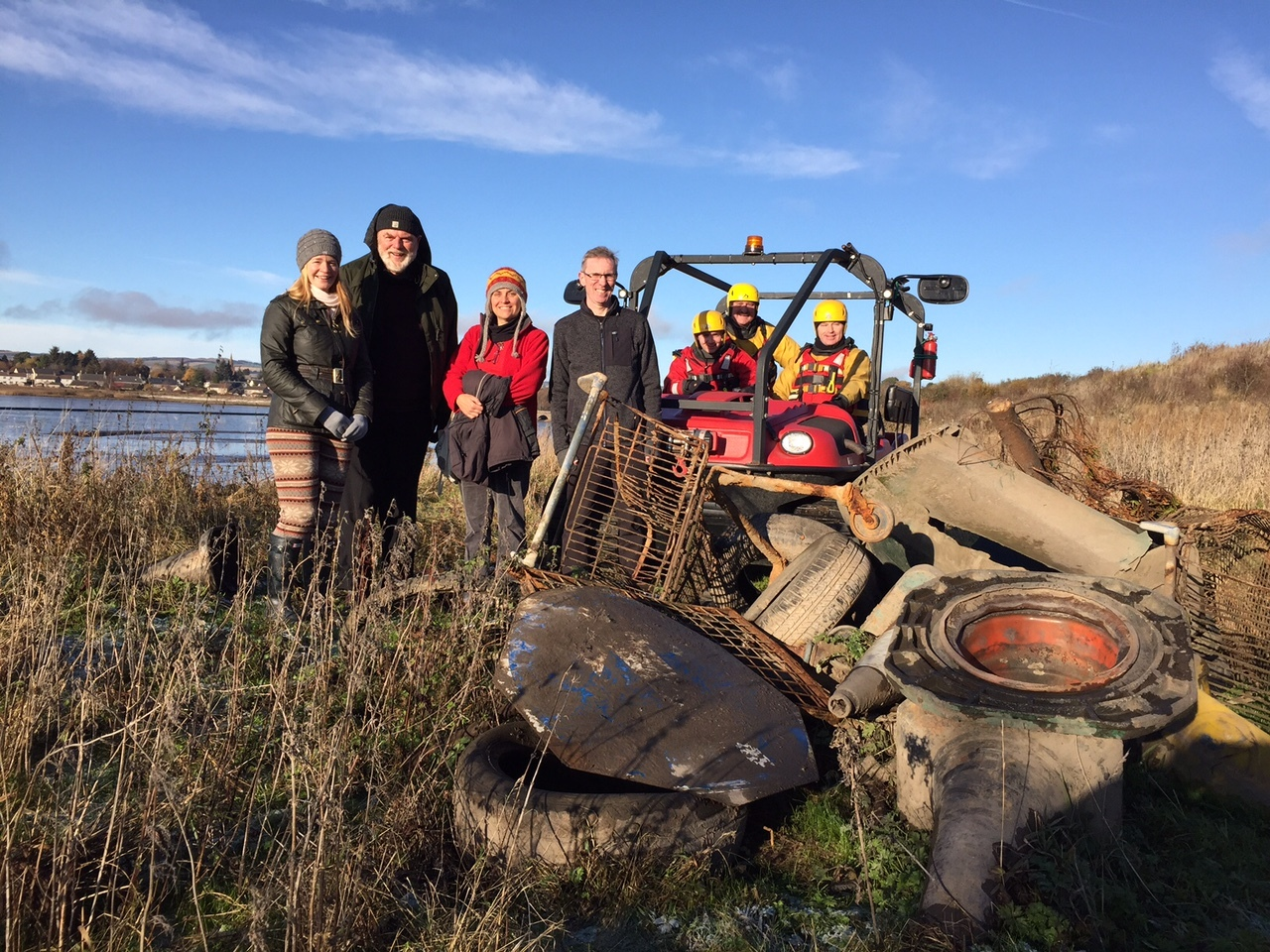Dundee Airport's fire rescue team are using an ATV to collect rubbish from the bay.